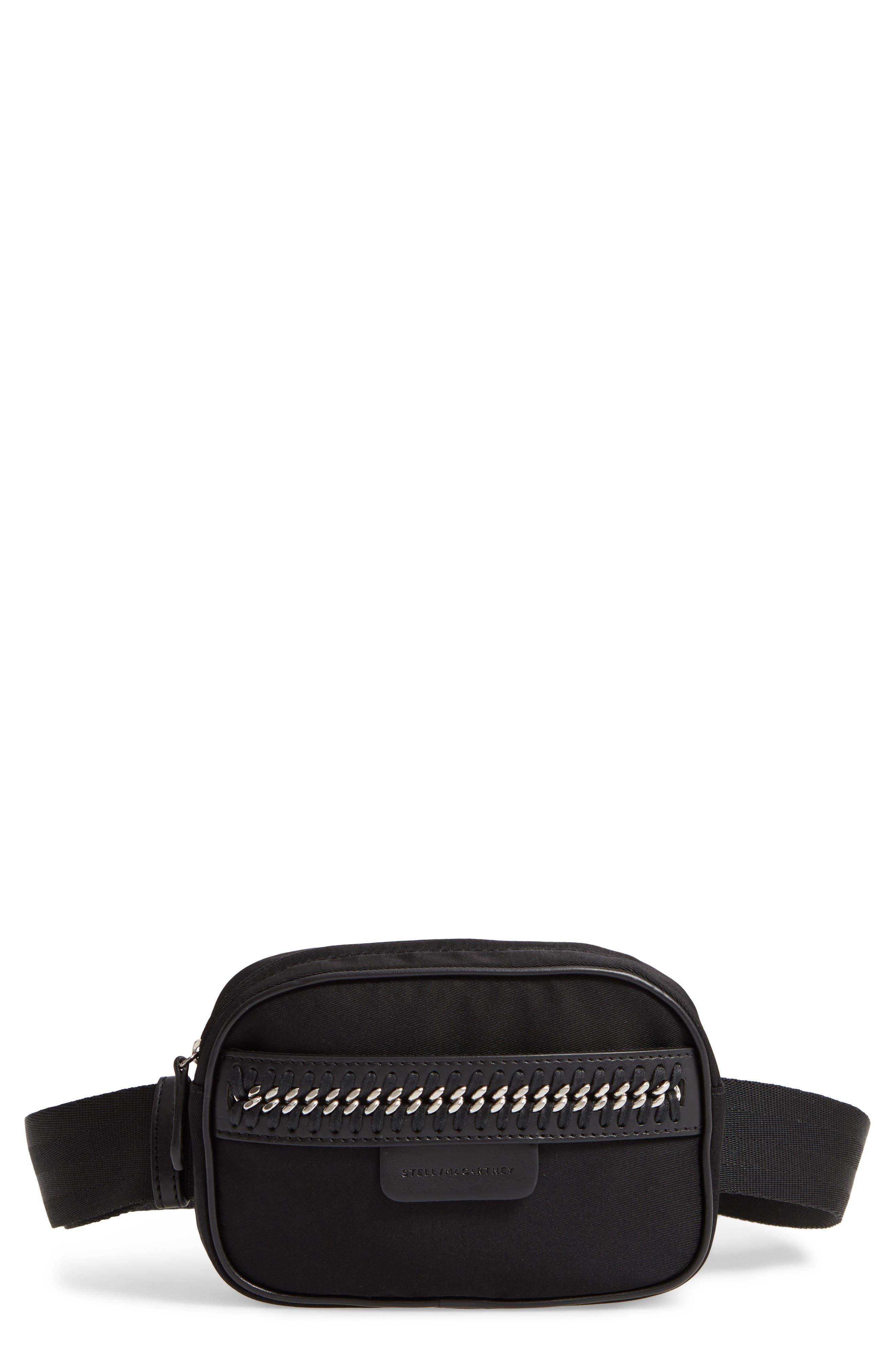 Nylon Convertible Belt Bag, Main, color, BLACK/ SILVER