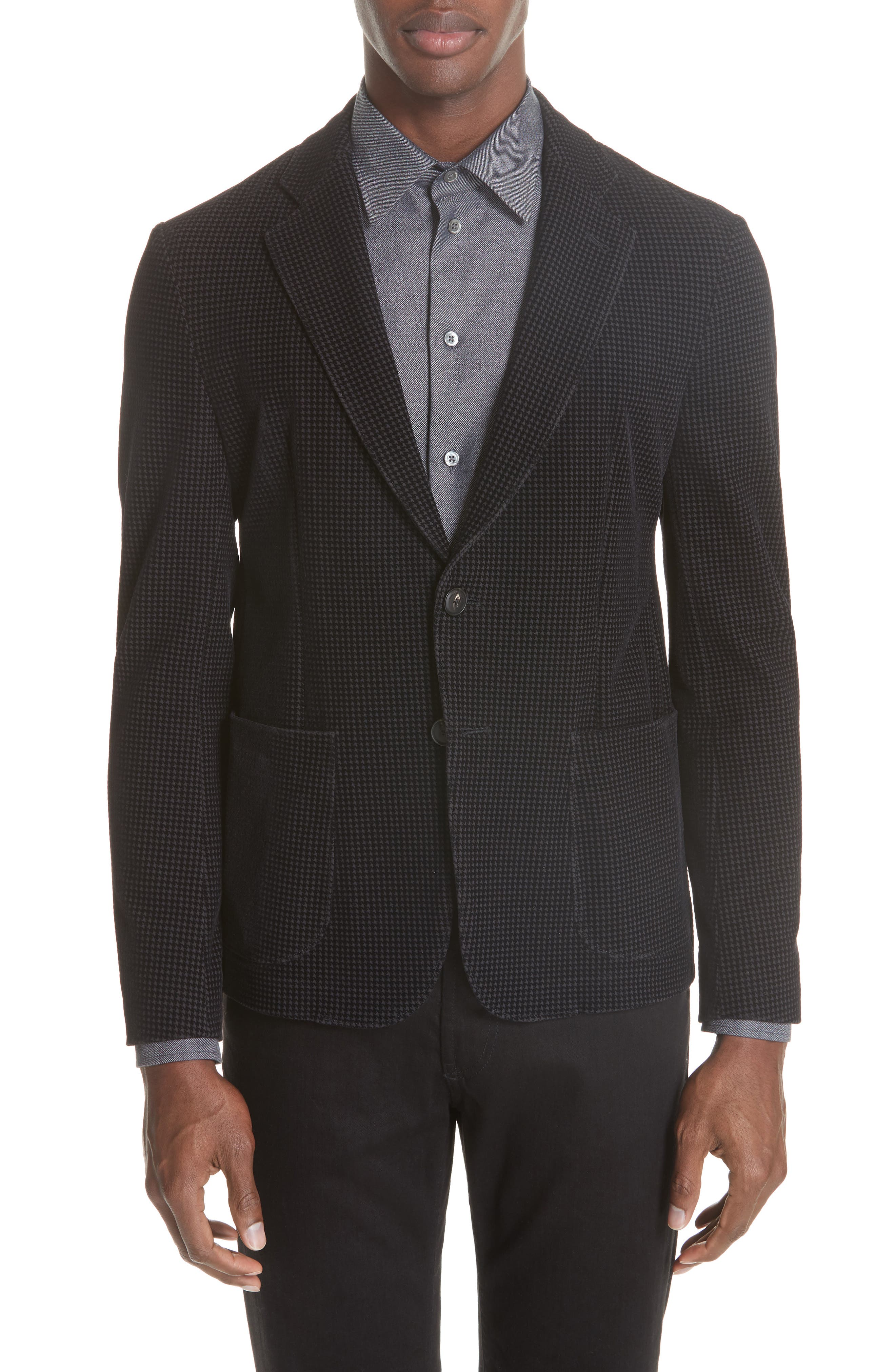 Trim Fit Stretch Houndstooth Sport Coat,                             Main thumbnail 1, color,                             001