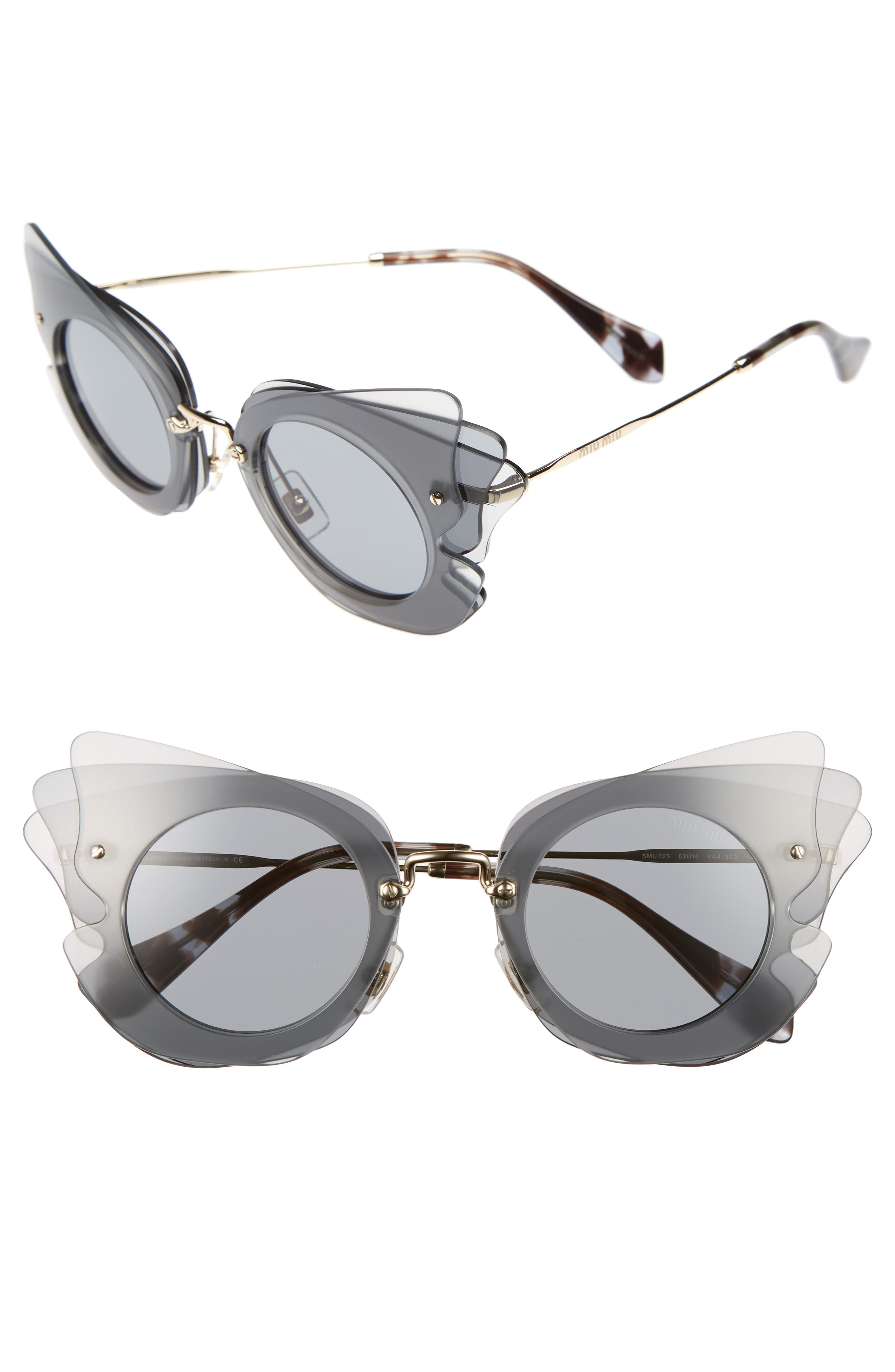 63mm Layered Butterfly Sunglasses,                             Main thumbnail 1, color,                             020