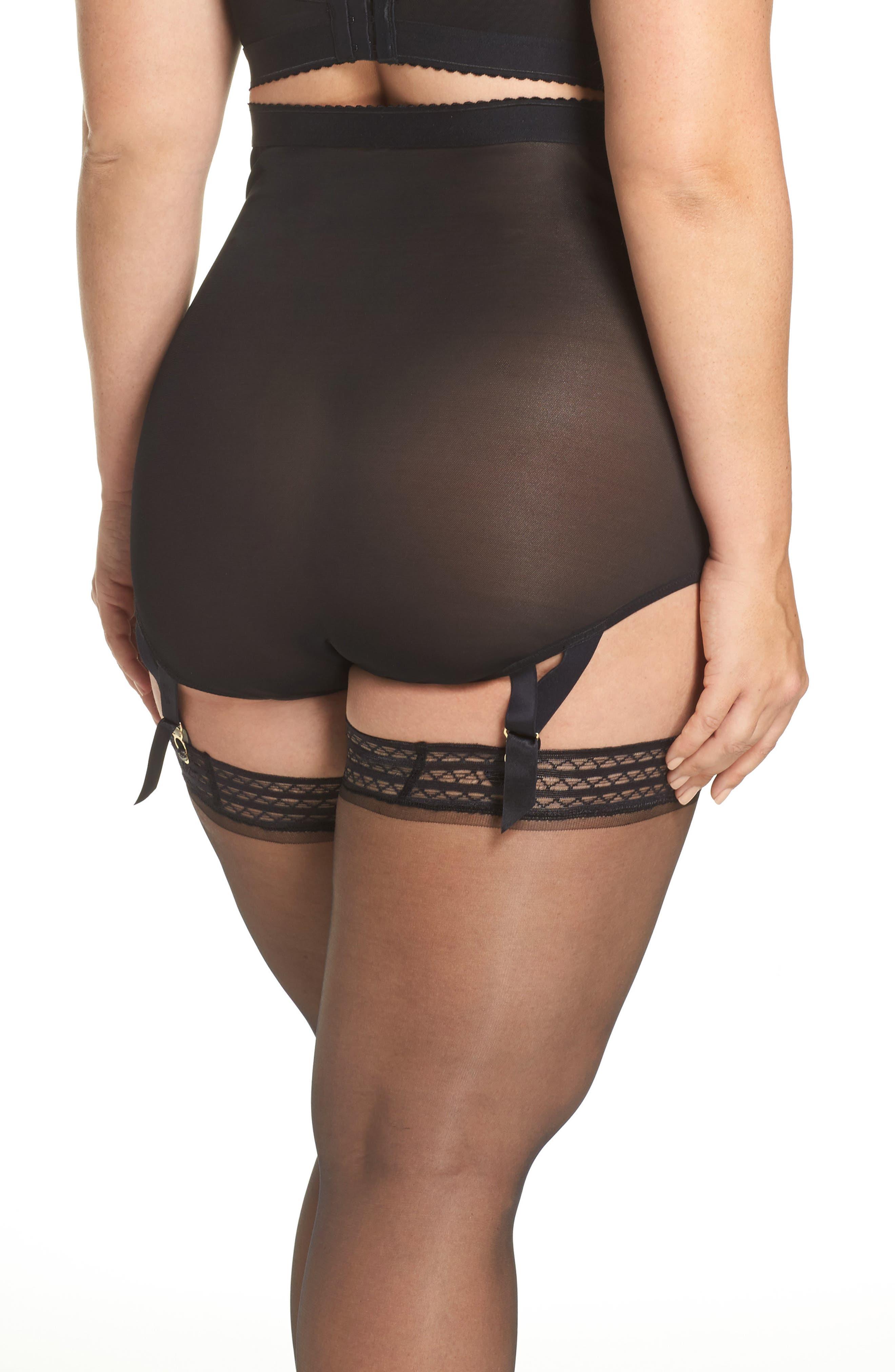Candace Noir High Waist Panties with Garter Attachments,                             Alternate thumbnail 2, color,                             001