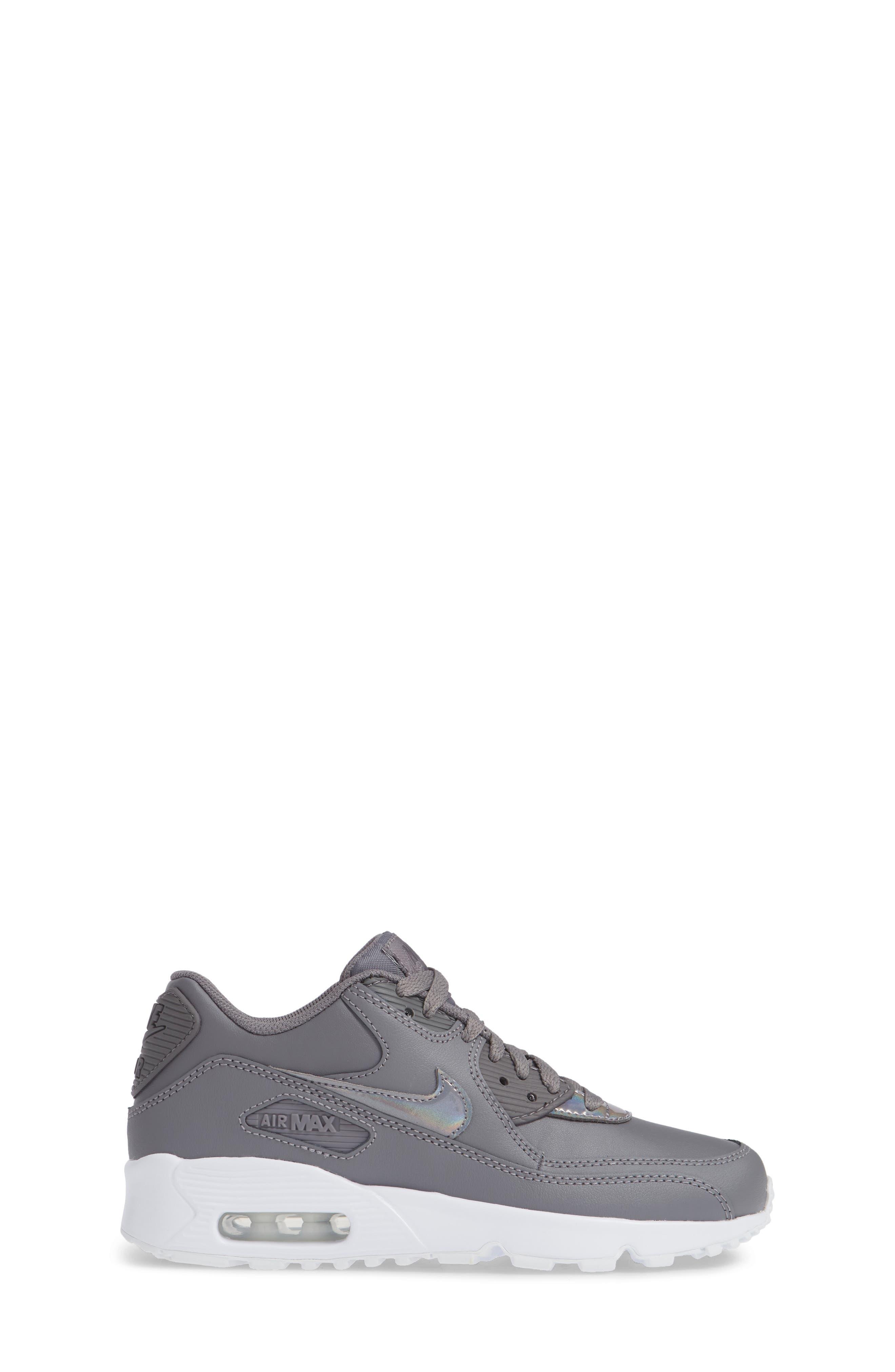 'Air Max 90' Sneaker,                             Alternate thumbnail 3, color,                             GUNSMOKE/ WHITE