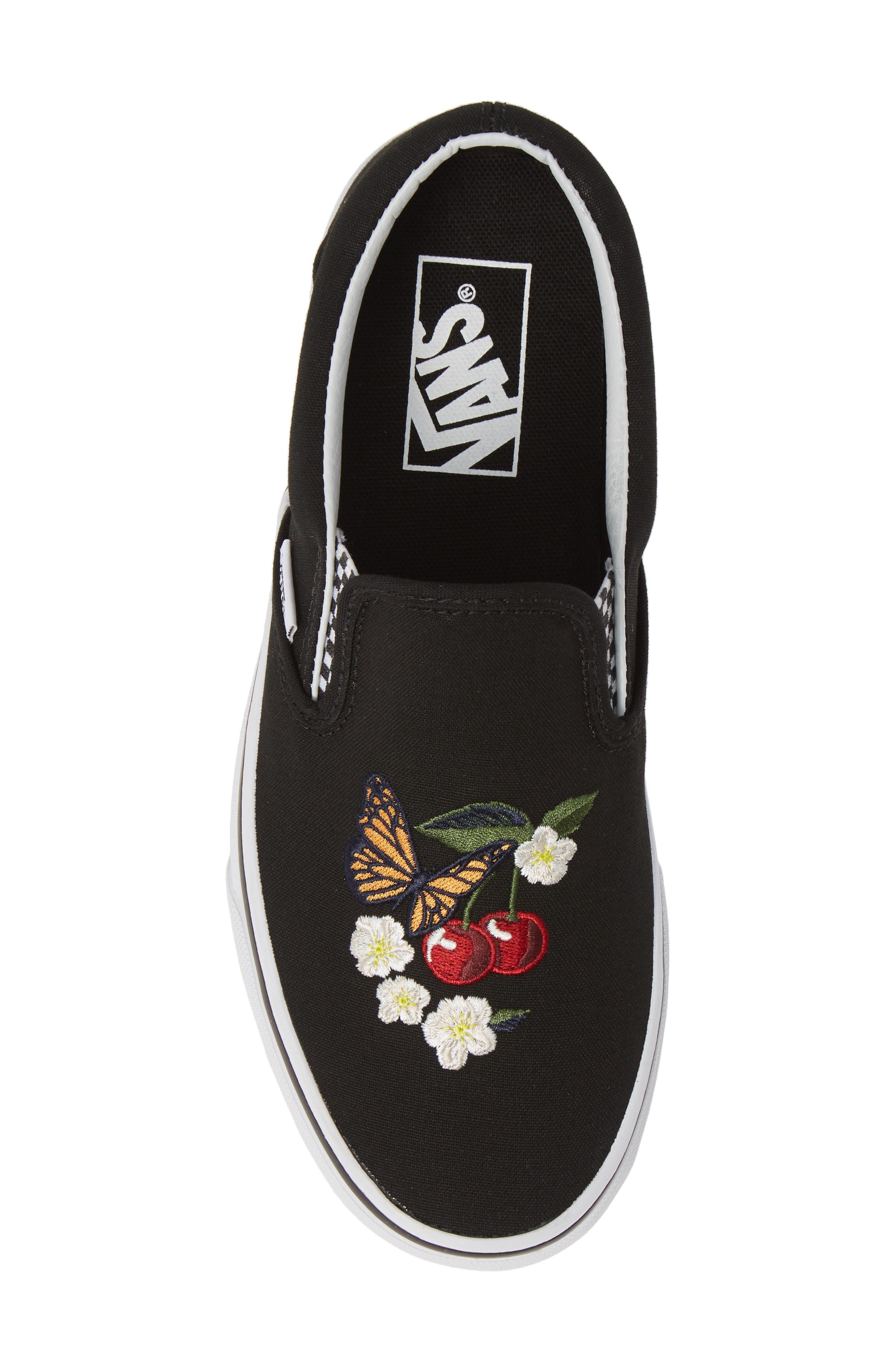 Classic Slip-On Sneaker,                             Alternate thumbnail 5, color,                             CHECKER FLORAL BLACK