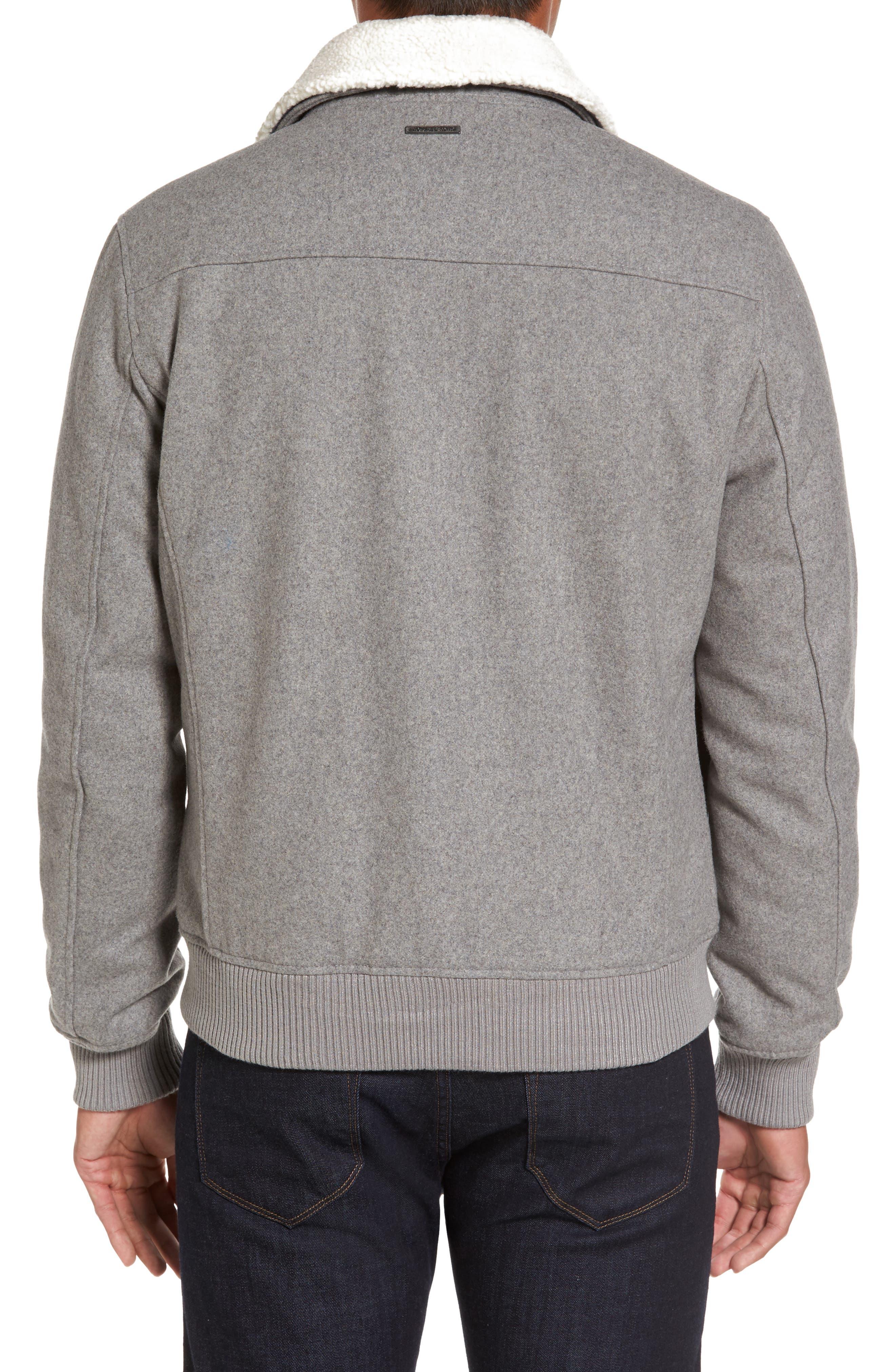 Fleece Collar Wool Blend A-2 Jacket,                             Alternate thumbnail 2, color,                             034
