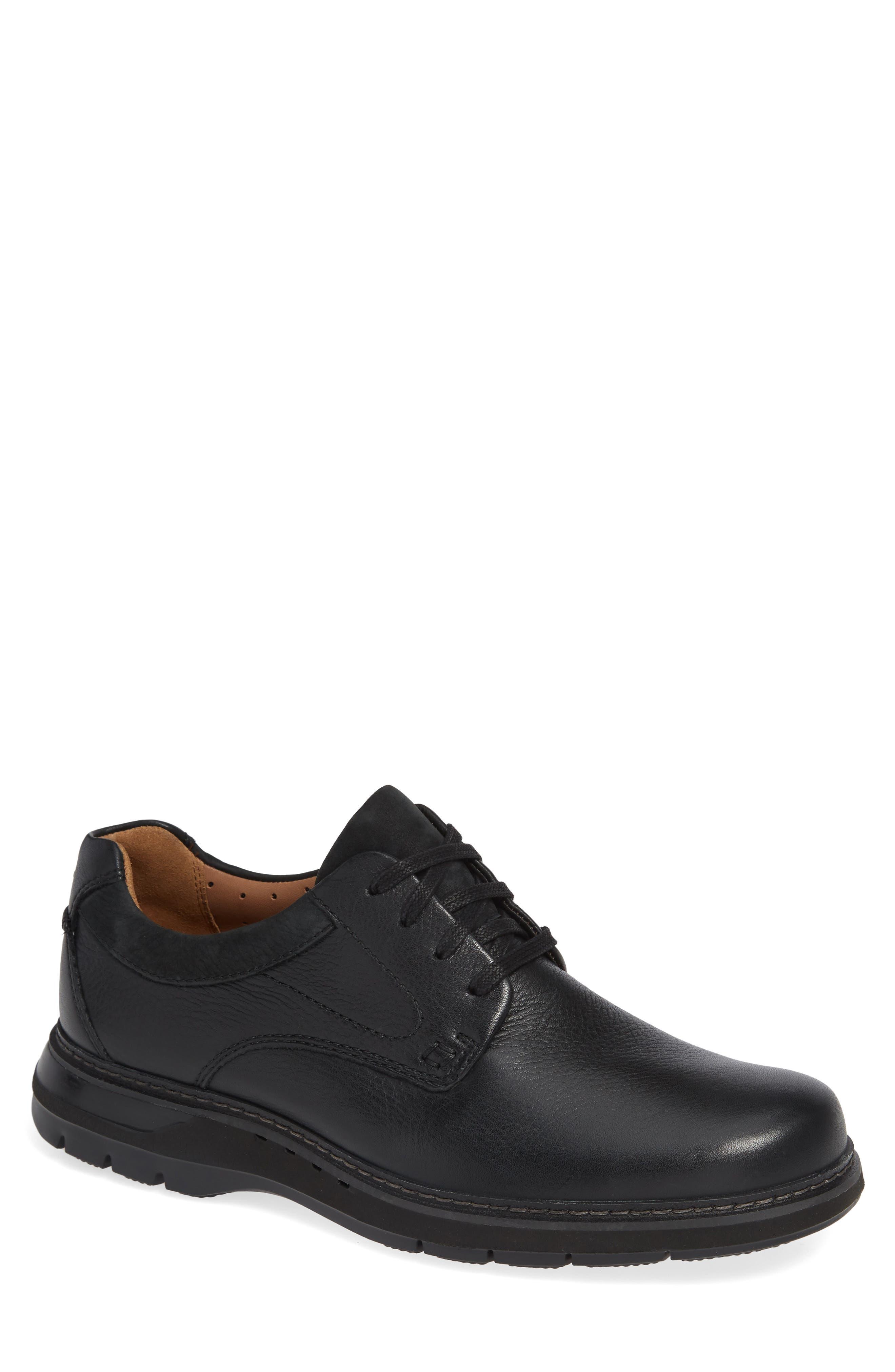 Un Ramble Lo Plain Toe Derby,                         Main,                         color, BLACK LEATHER