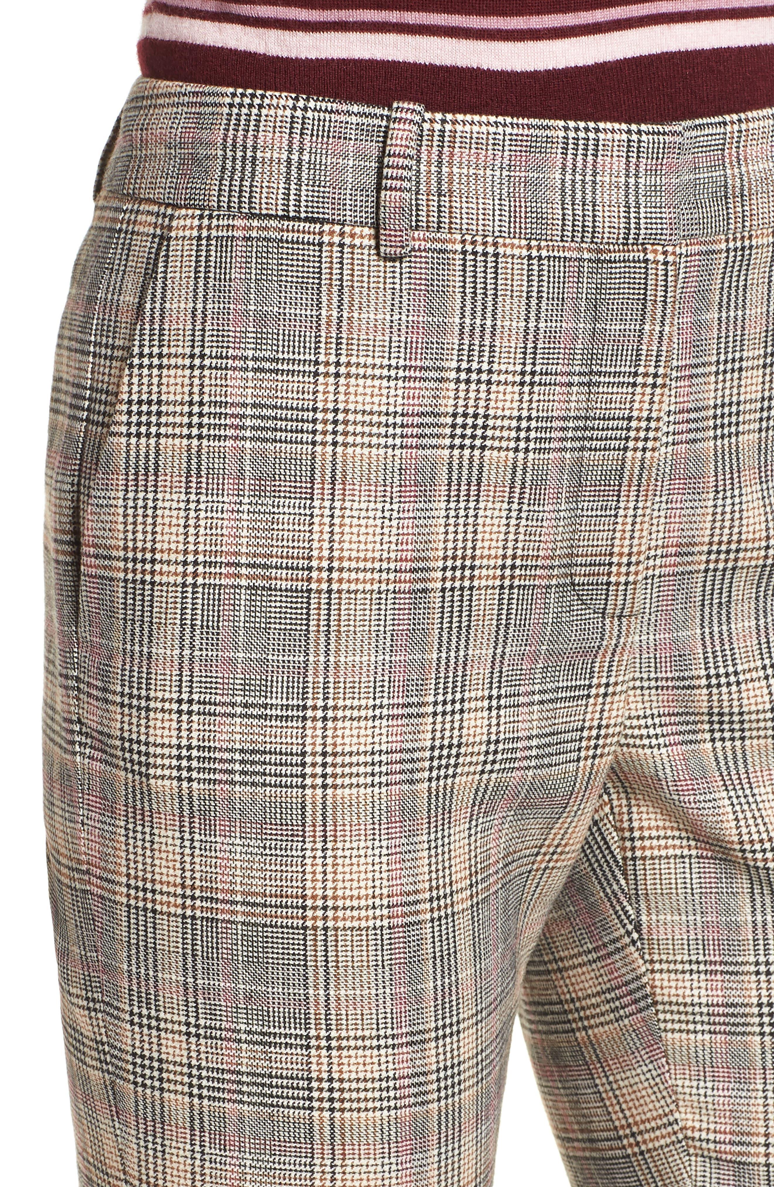 Plaid Slim Leg Crop Pants,                             Alternate thumbnail 4, color,                             001