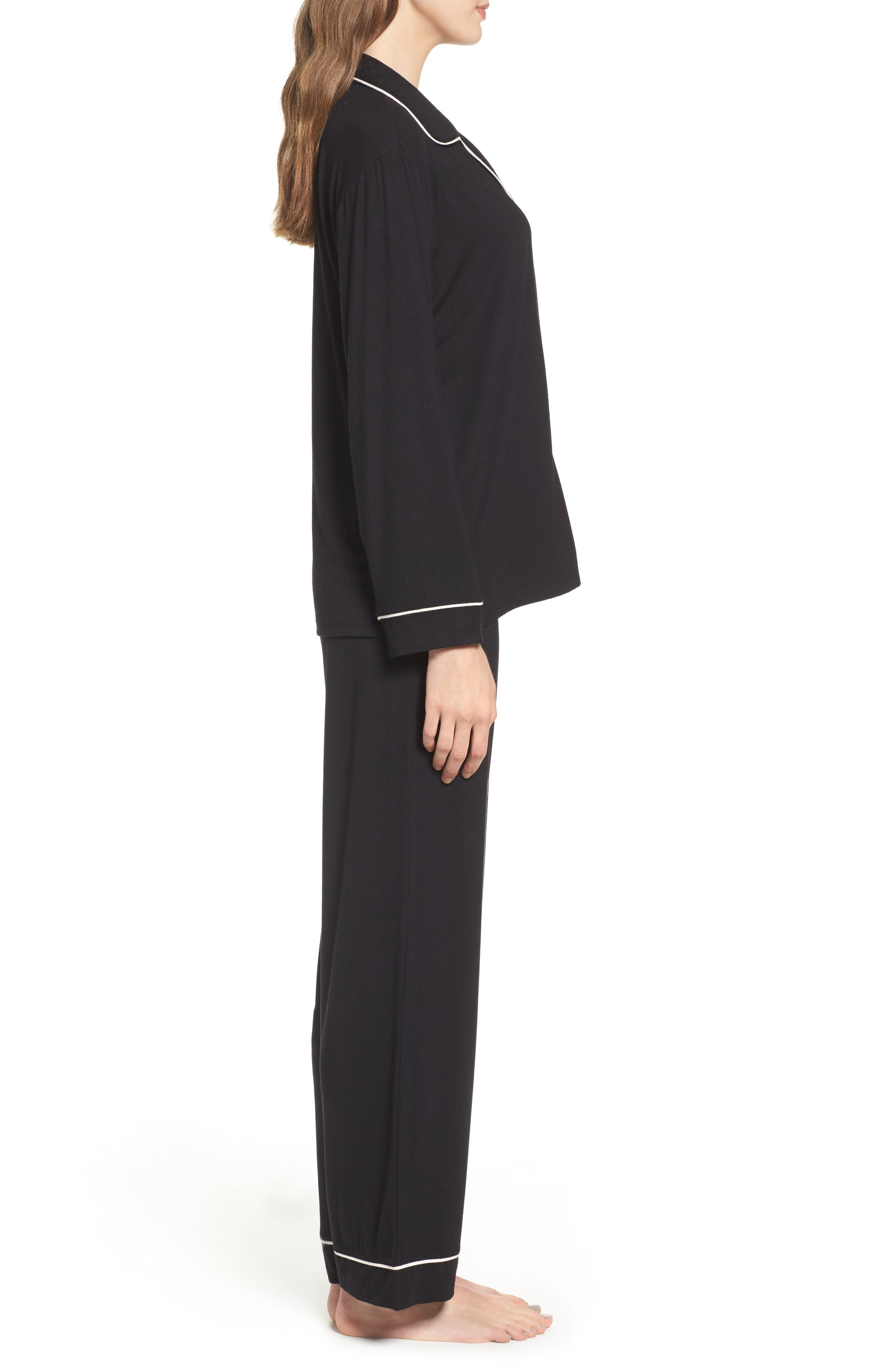 'Giselle' Pajamas,                             Alternate thumbnail 4, color,                             BLACK/ SORBET PINK