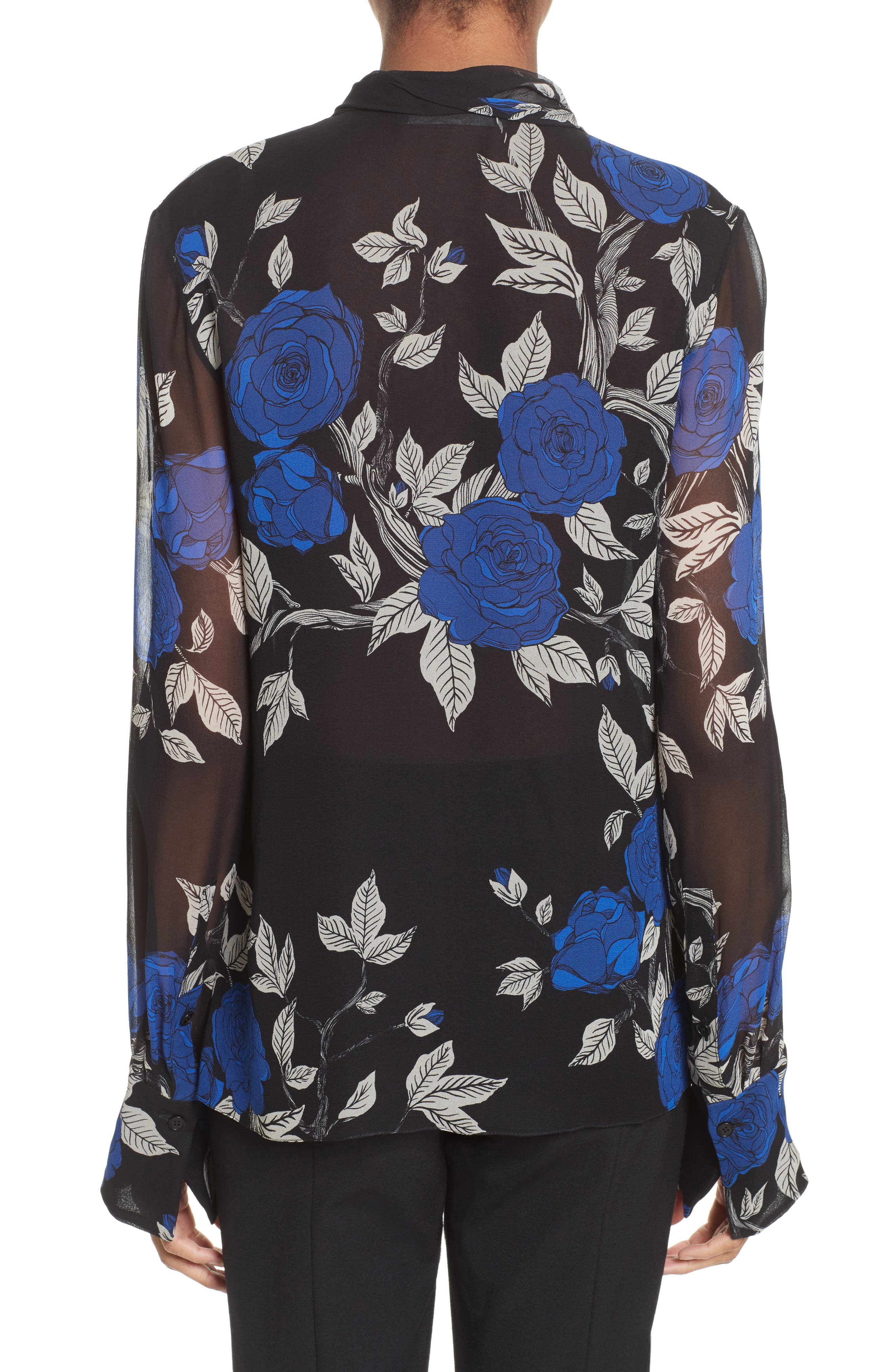 Floral Silk Tie Neck Blouse,                             Alternate thumbnail 2, color,                             002