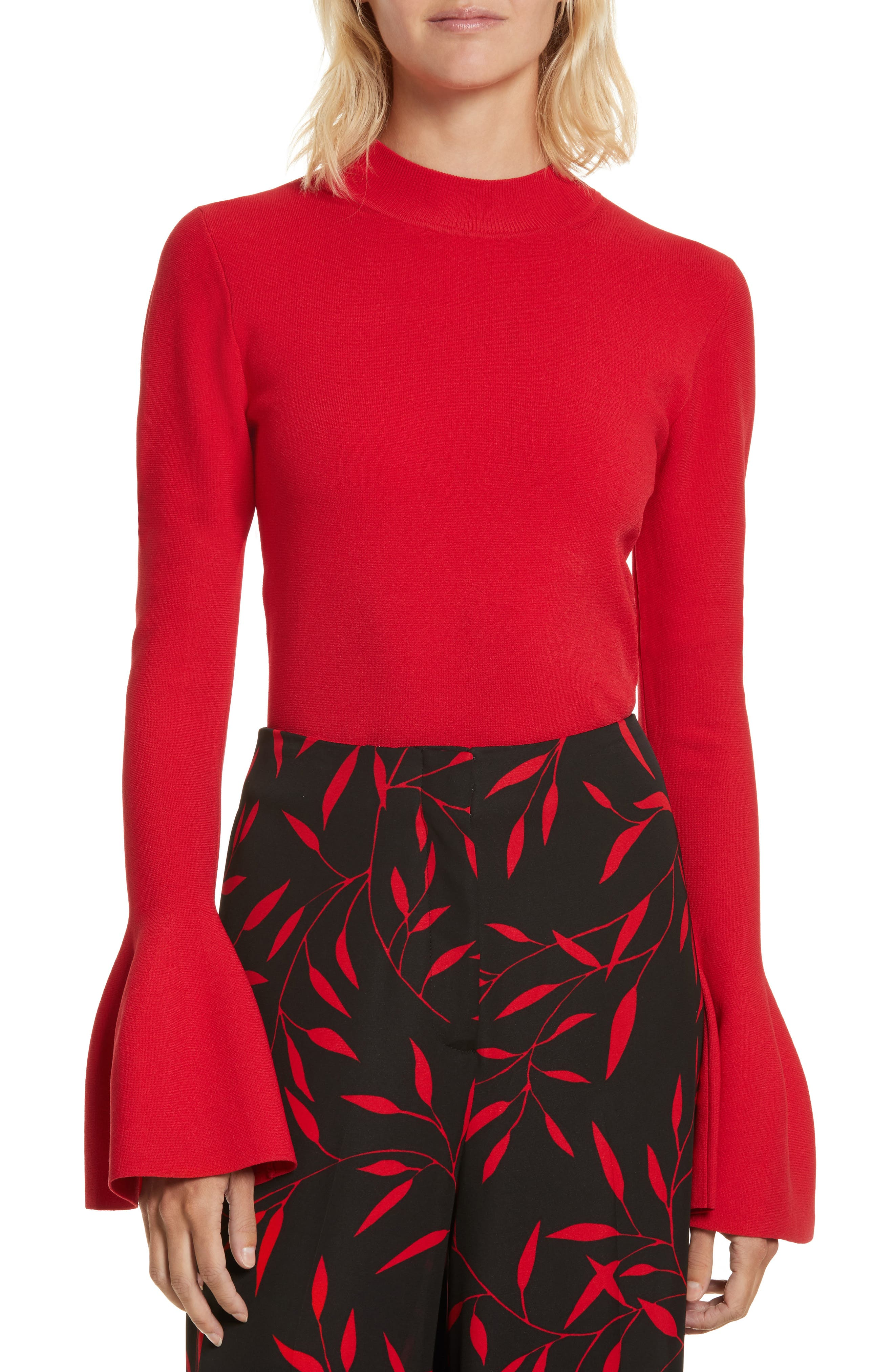 Diane von Furstenberg Flutter Sleeve Mock Neck Sweater,                             Main thumbnail 2, color,