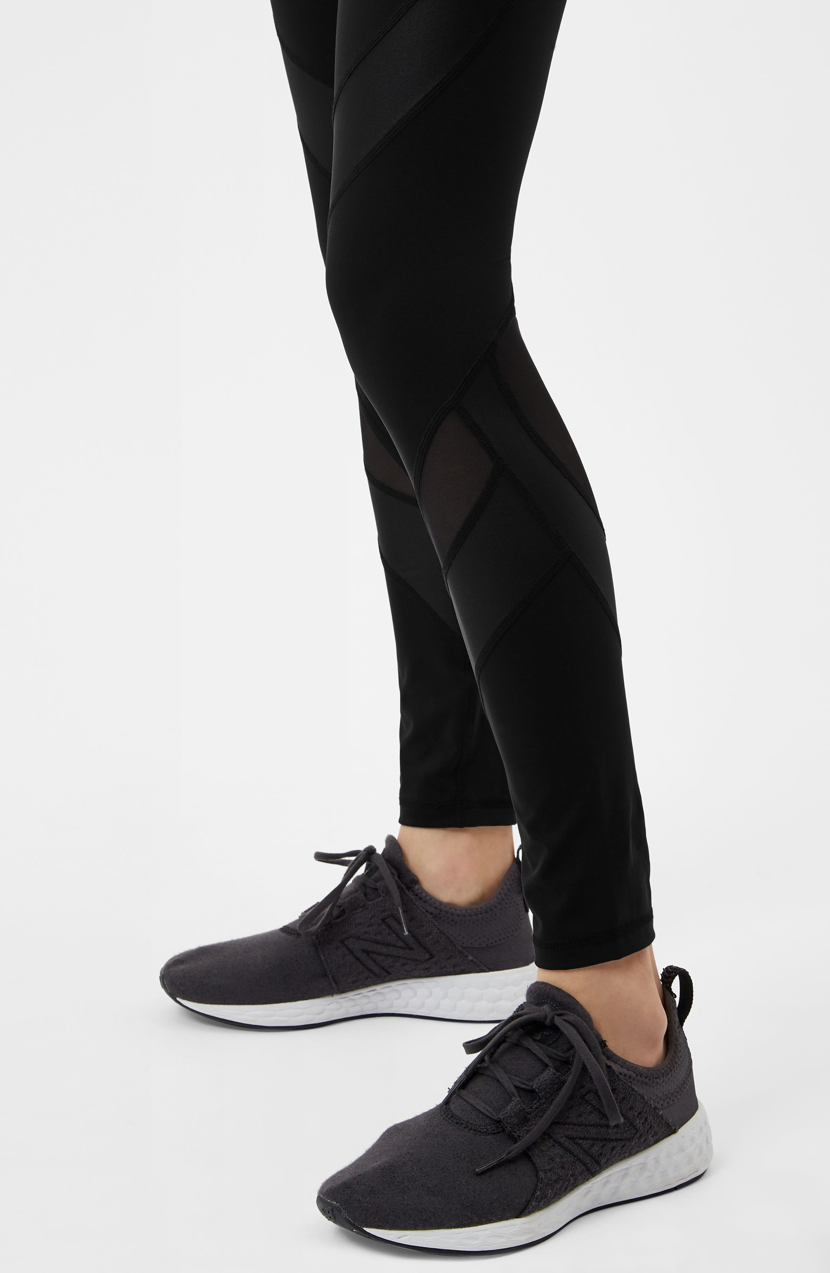 Wetlook Run Leggings,                             Alternate thumbnail 7, color,                             BLACK