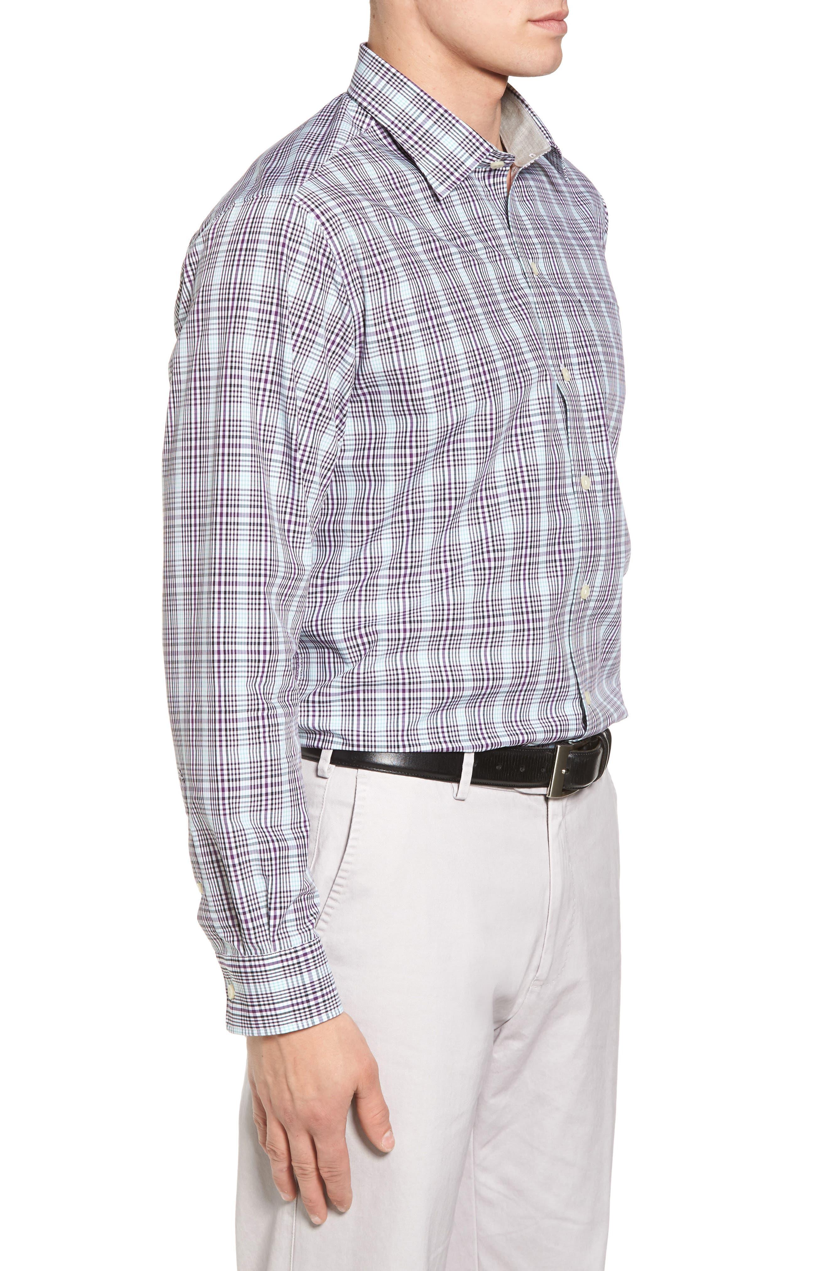 Hoyt Plaid Non-Iron Sport Shirt,                             Alternate thumbnail 3, color,