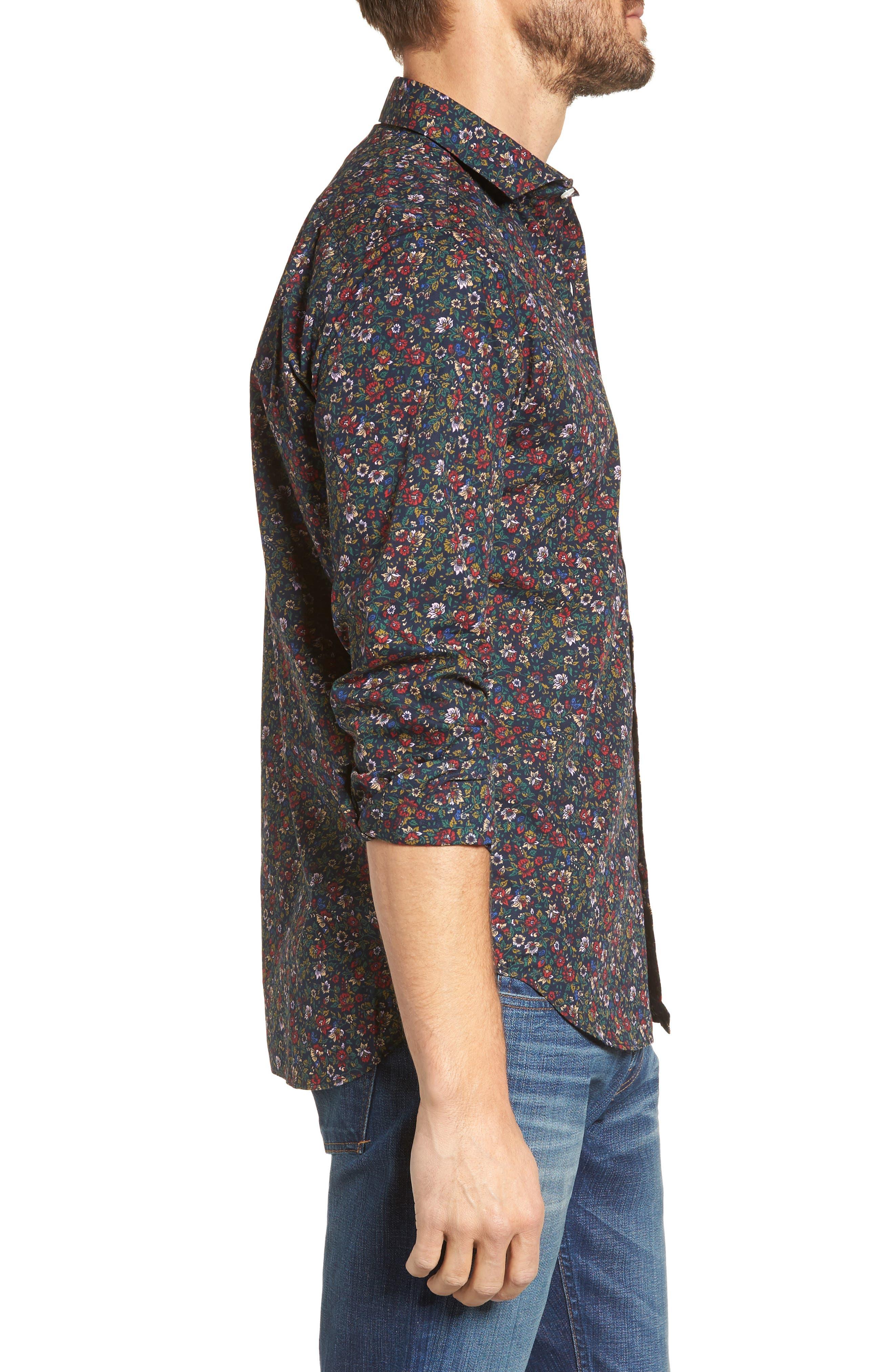 Unbutton Down Slim Fit Floral Sport Shirt,                             Alternate thumbnail 3, color,                             001