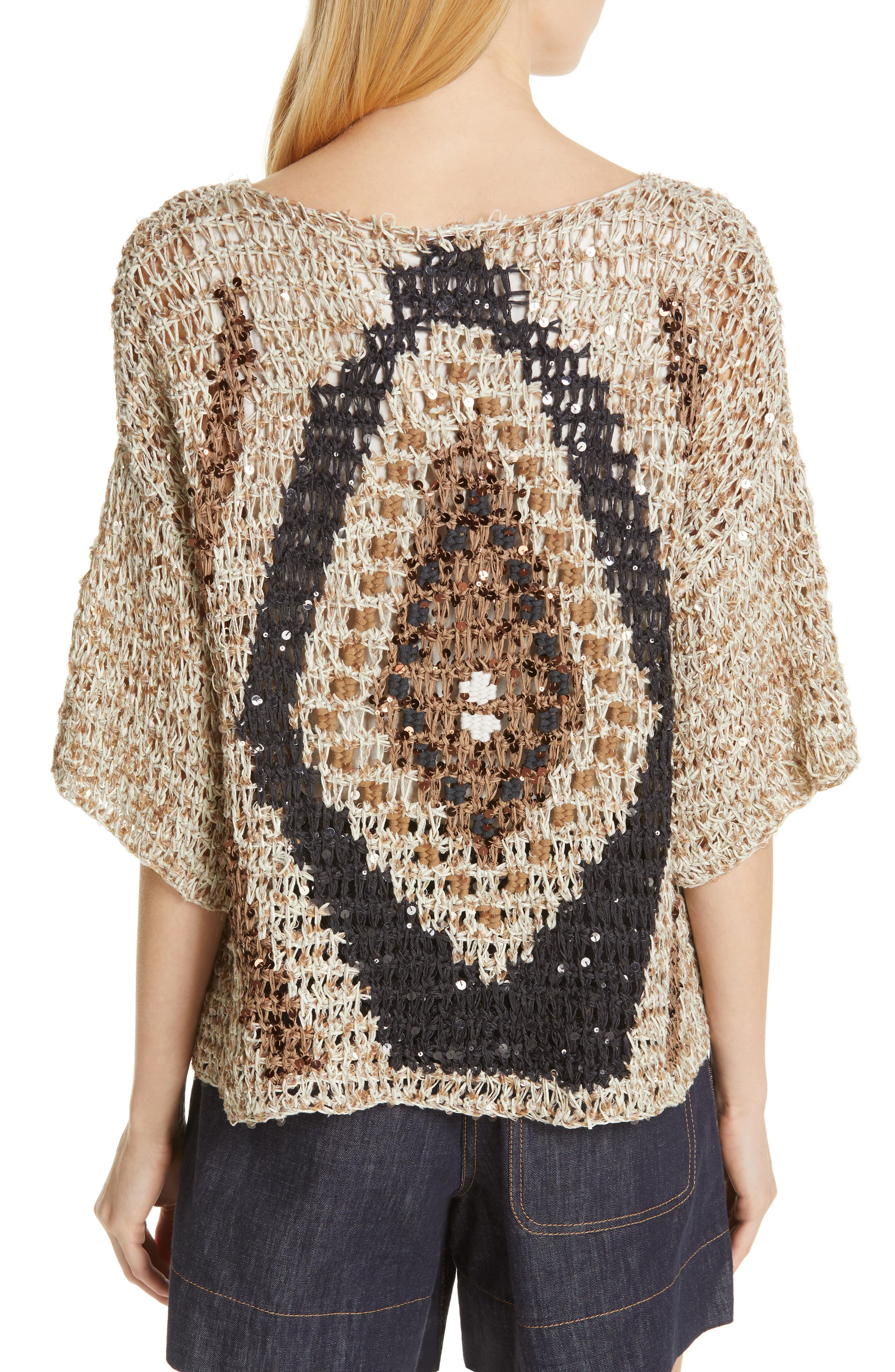 Sequin Open Knit Sweater,                             Alternate thumbnail 2, color,                             SUMMER BEIGE