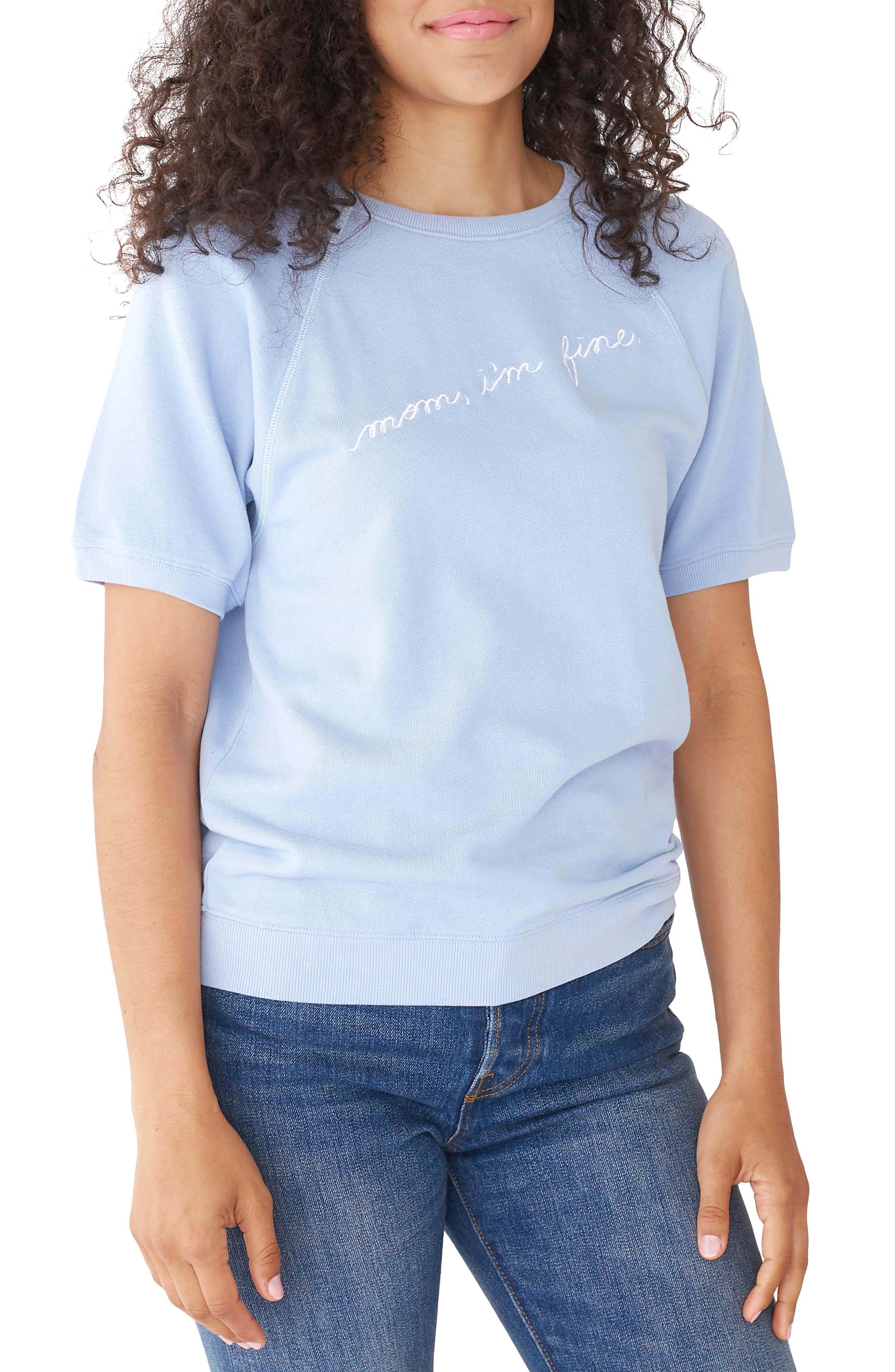 BAN.DO Ban. Do Mom I'M Fine Short Sleeve Pullover in Blue