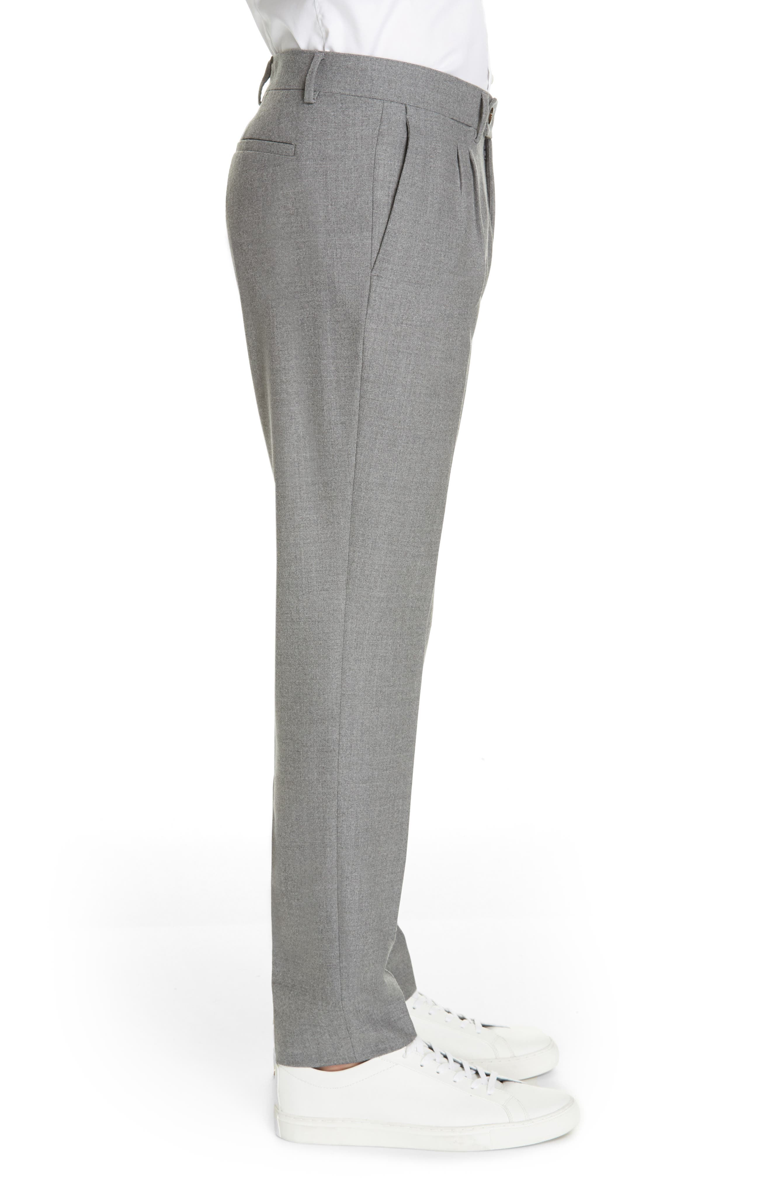 Slim Fit Pleated Stretch Wool Trousers,                             Alternate thumbnail 3, color,                             MID GREY
