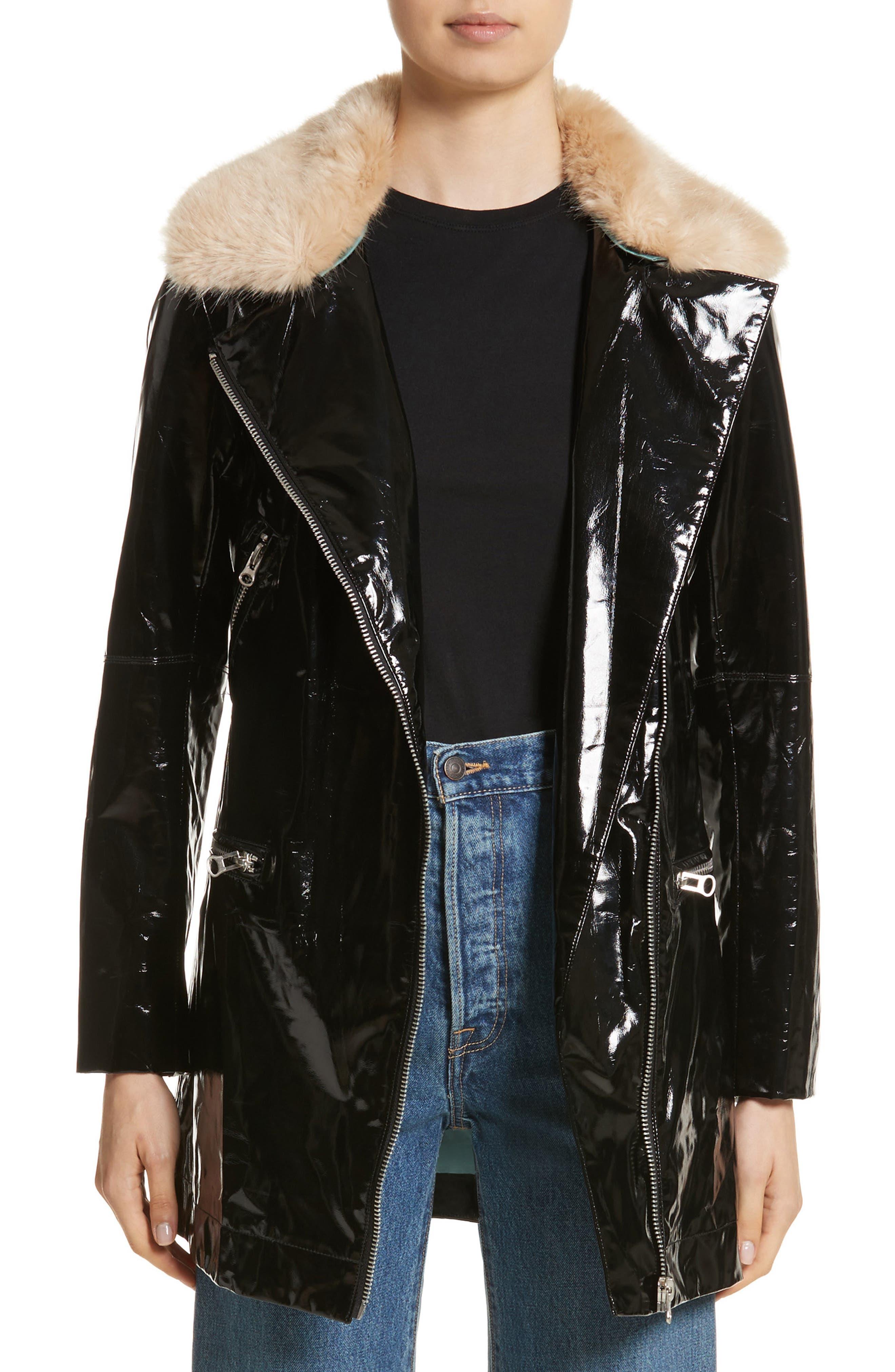 Olwen Faux Leather Long Biker Coat with Faux Fur Collar,                             Alternate thumbnail 2, color,                             001