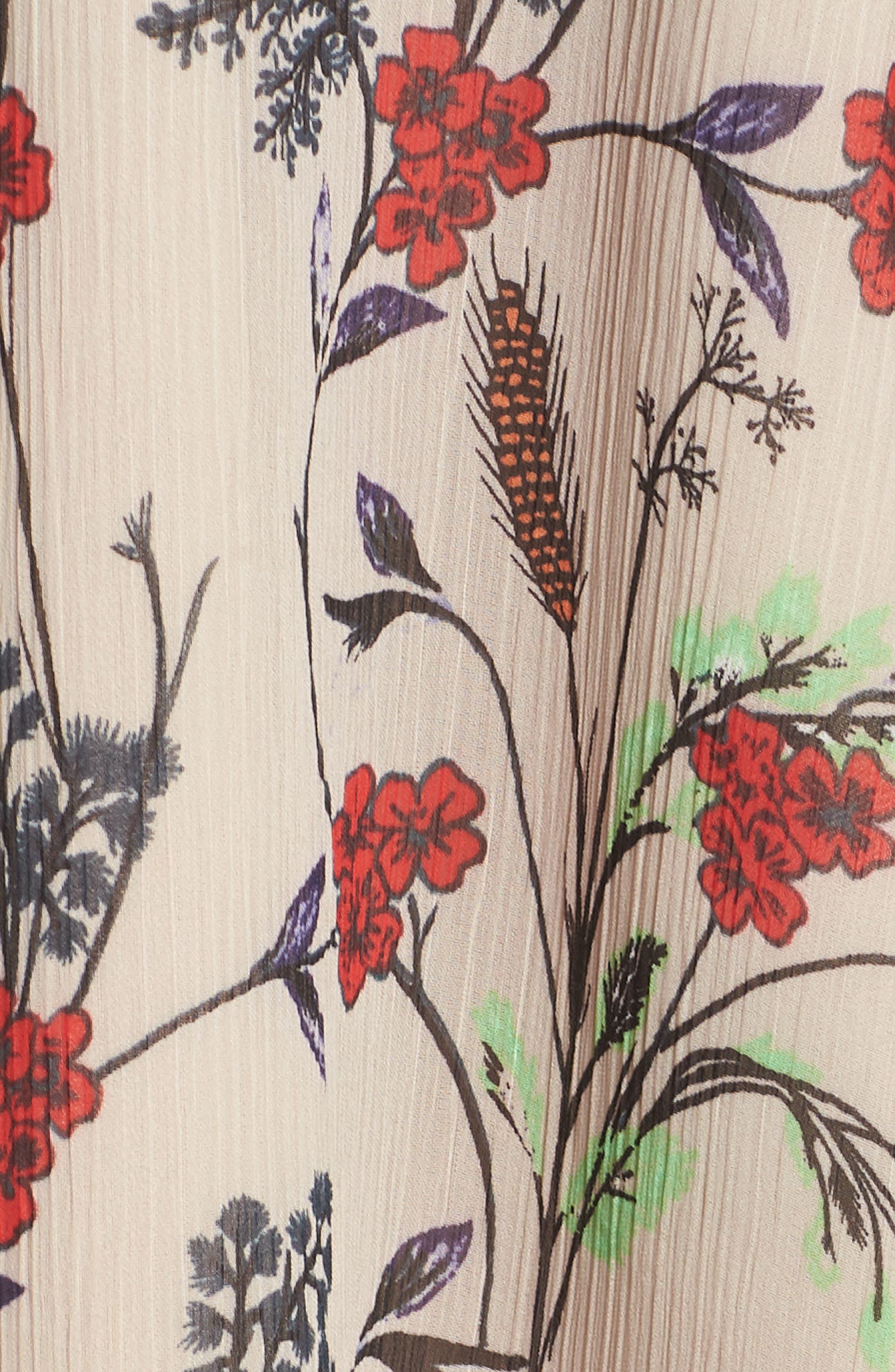 Yoryu Floral Chiffon Dress,                             Alternate thumbnail 6, color,                             280