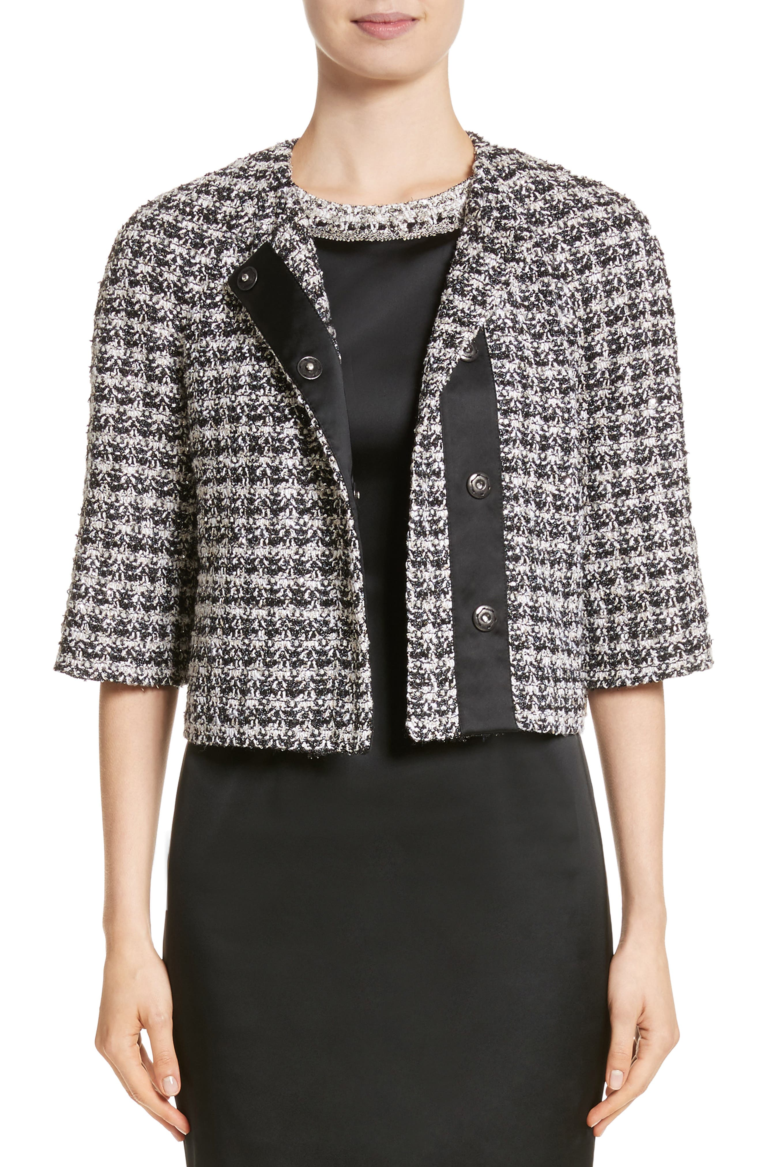 Metallic Plaid Tweed Jacket,                             Main thumbnail 1, color,                             001