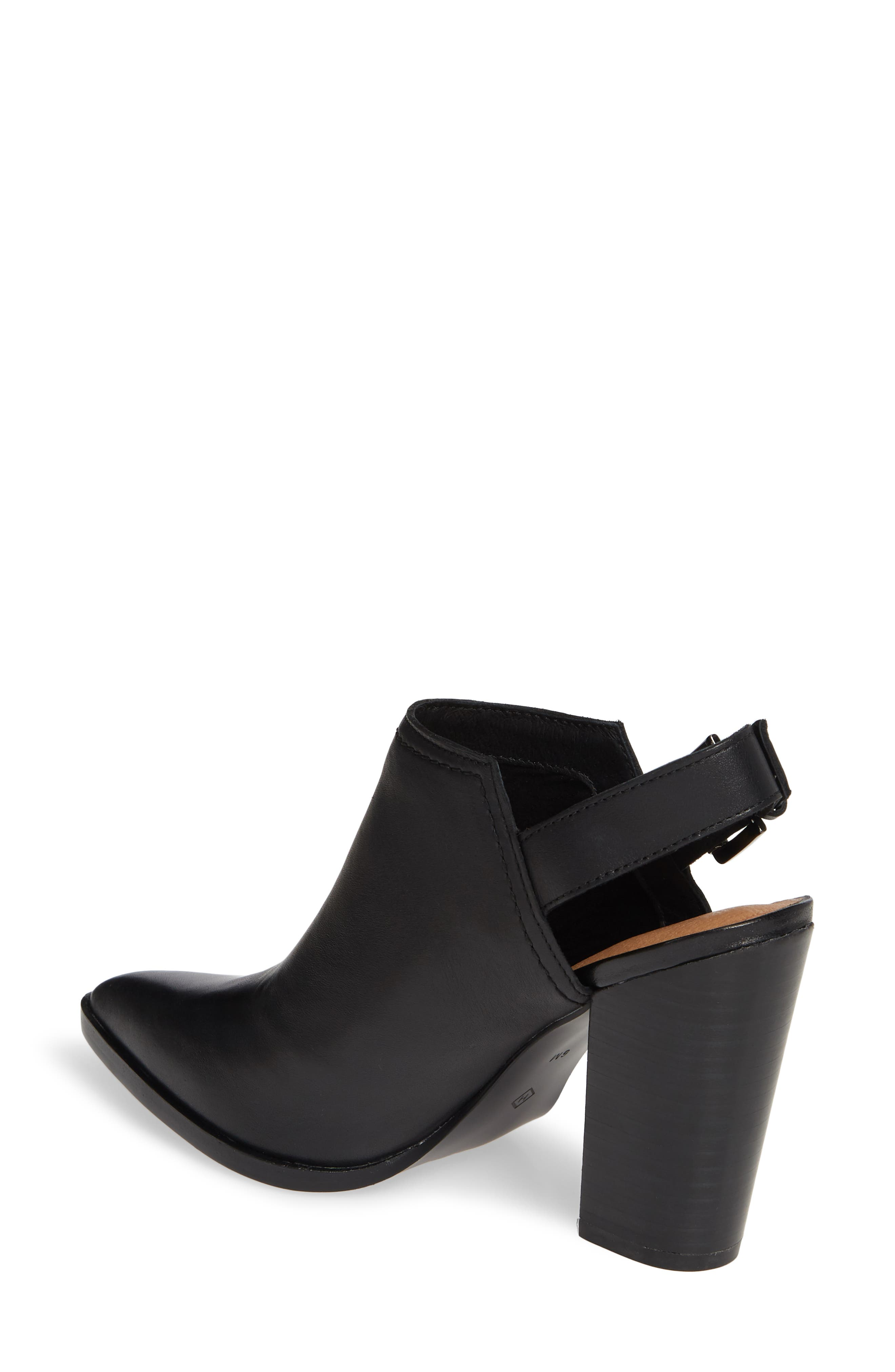 HALOGEN<SUP>®</SUP>,                             Brooke Stacked Heel Bootie,                             Alternate thumbnail 2, color,                             BLACK LEATHER
