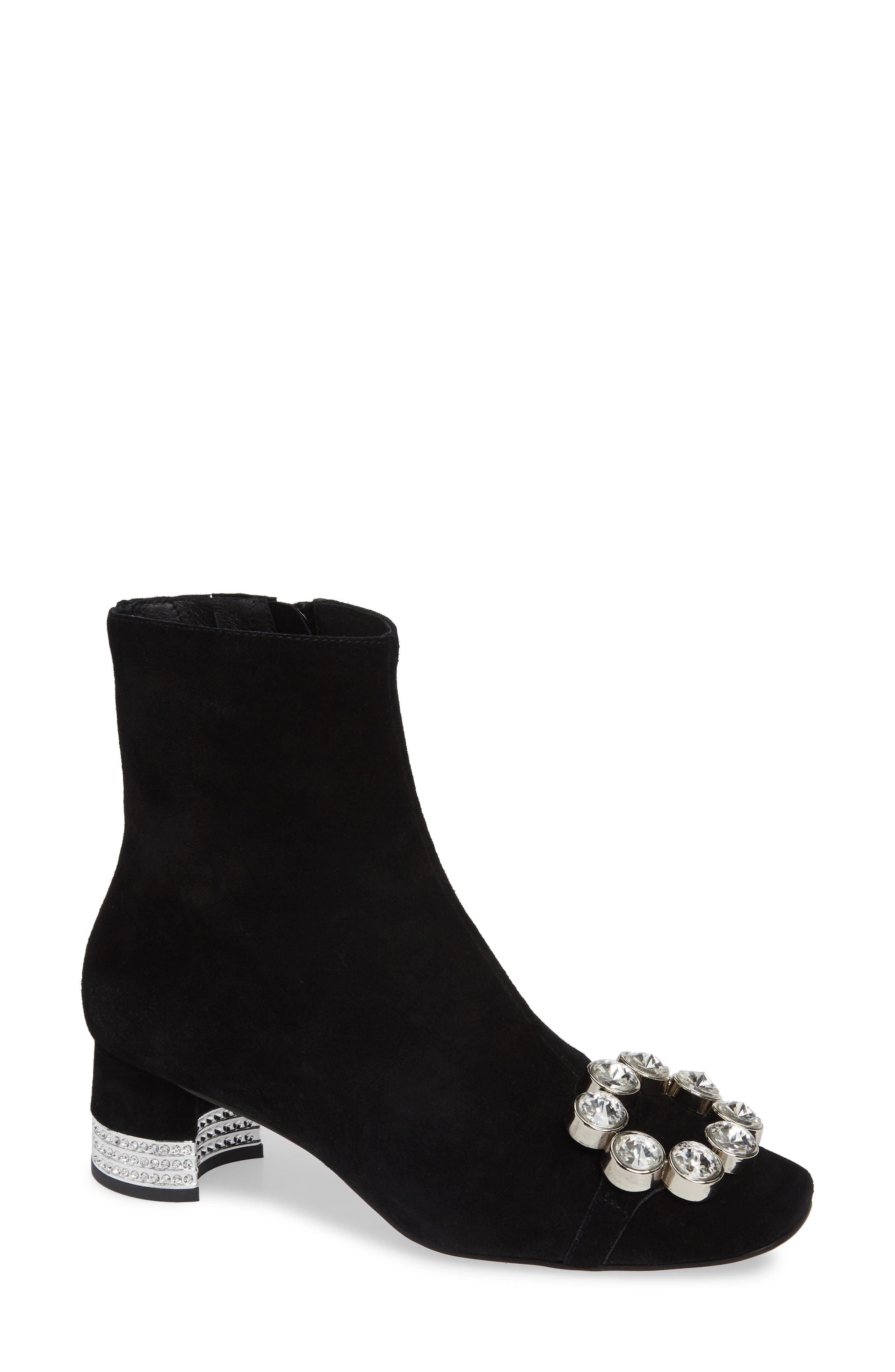 Sumatra Embellished Bootie,                             Main thumbnail 1, color,                             BLACK SUEDE