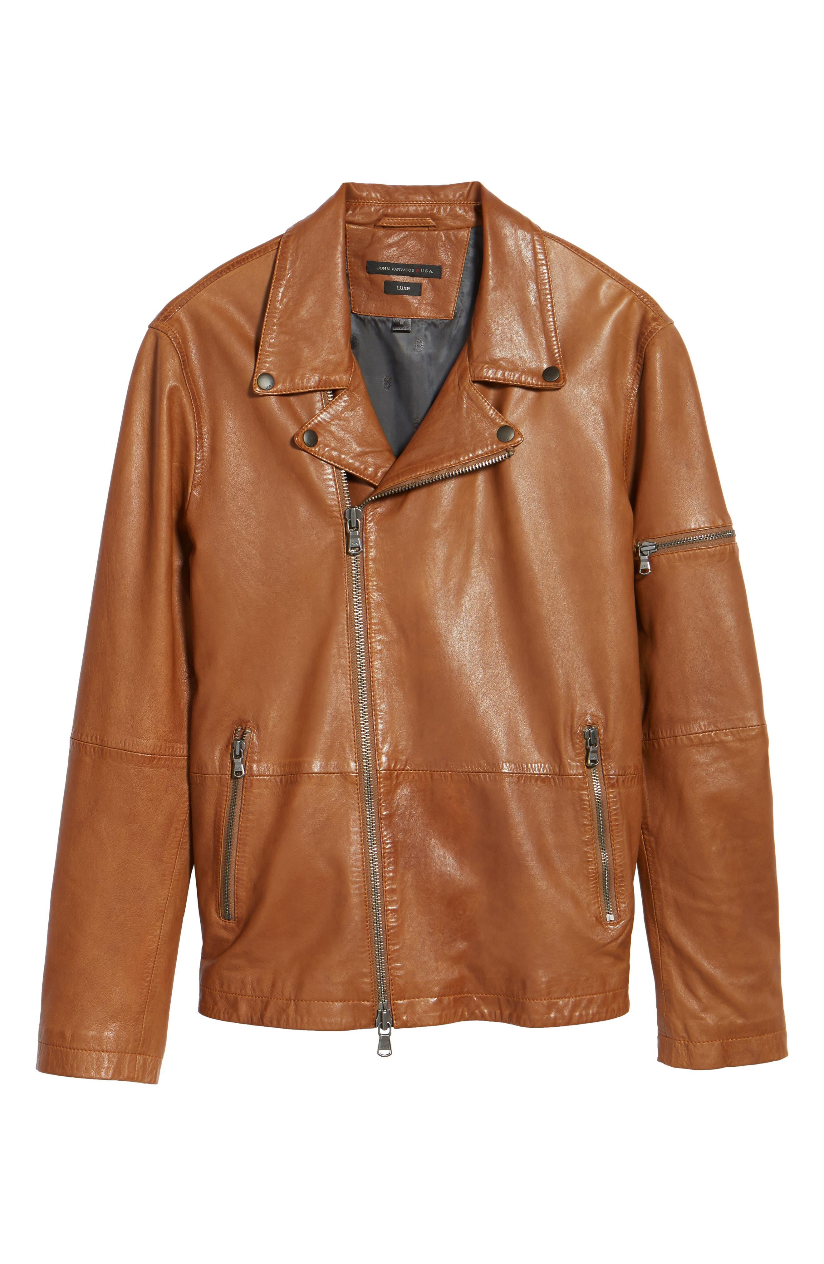 Leather Moto Jacket,                             Alternate thumbnail 5, color,                             240