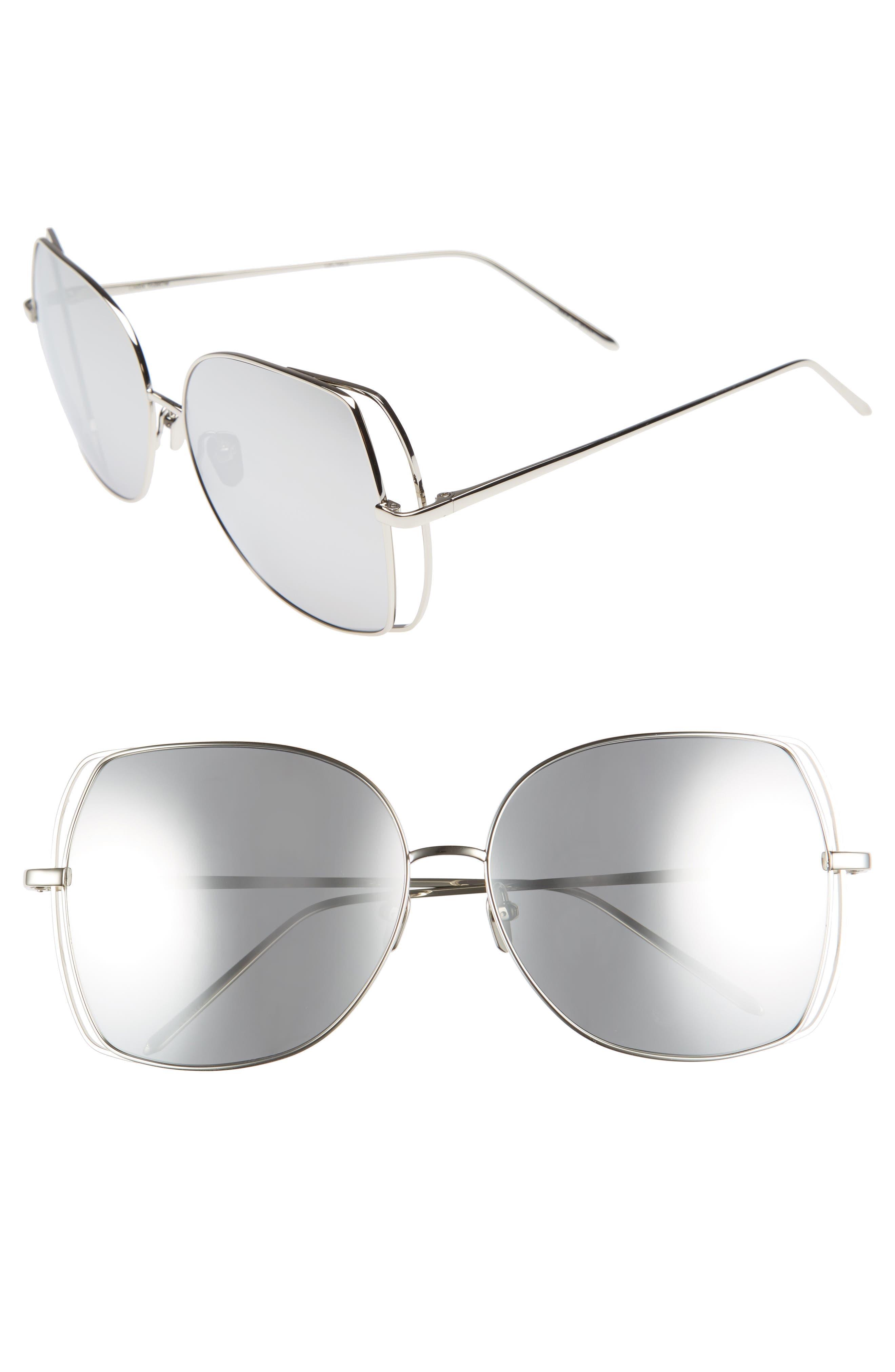 61mm Mirrored 18 Karat White Gold Sunglasses,                             Main thumbnail 1, color,