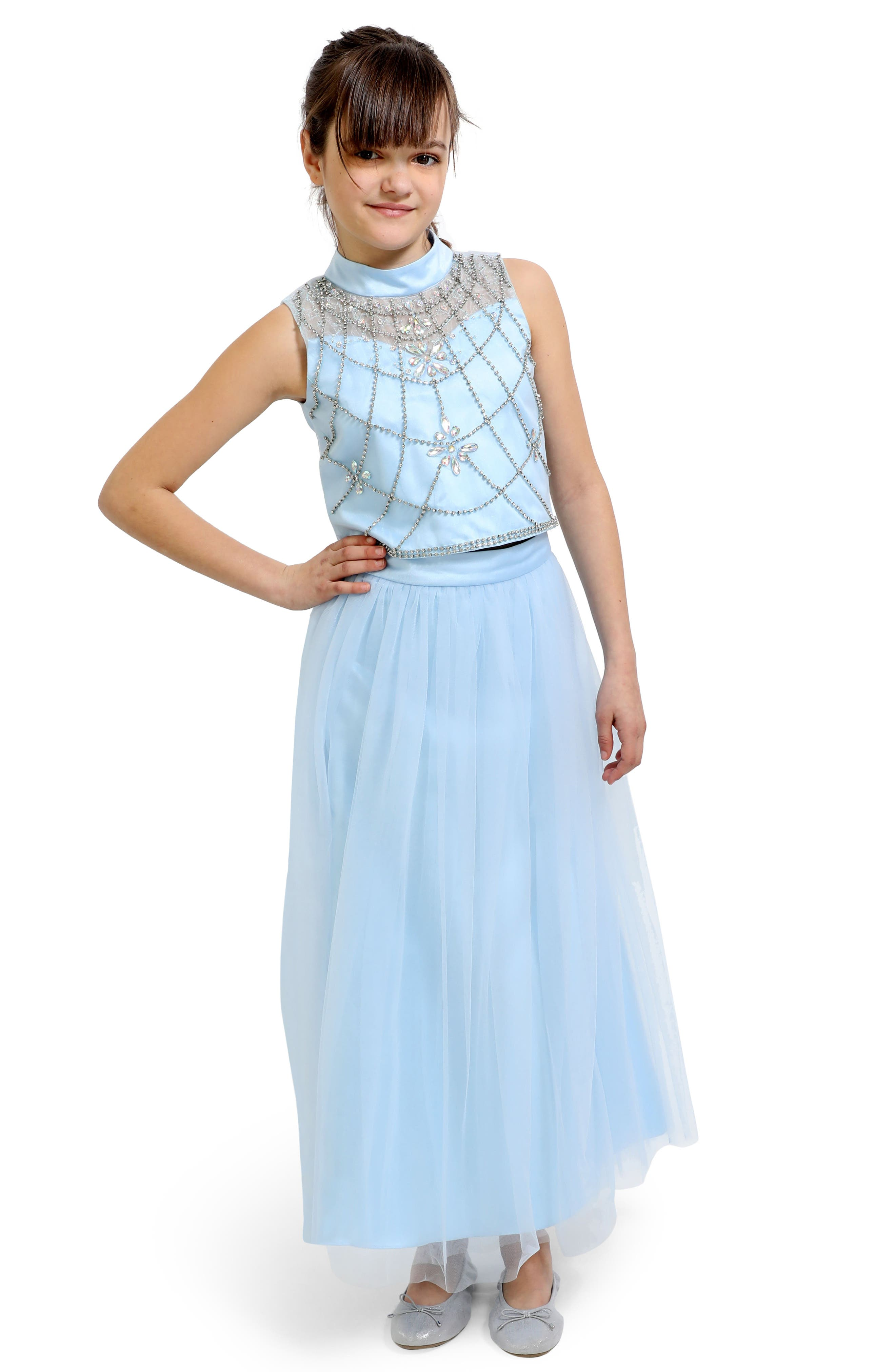 Embellished Top & Tulle Skirt Set,                             Main thumbnail 1, color,                             BLUE