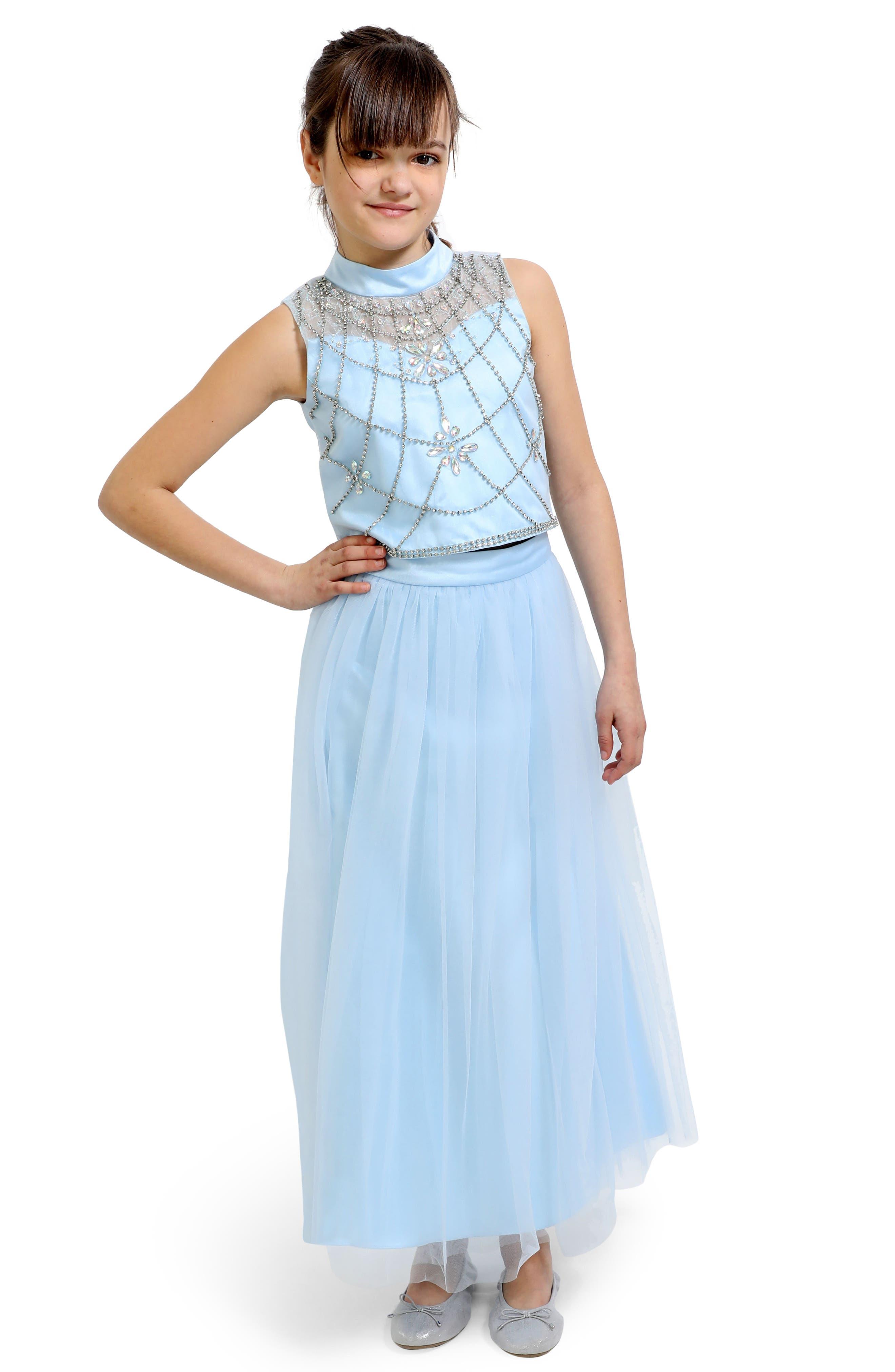 Embellished Top & Tulle Skirt Set,                         Main,                         color, BLUE