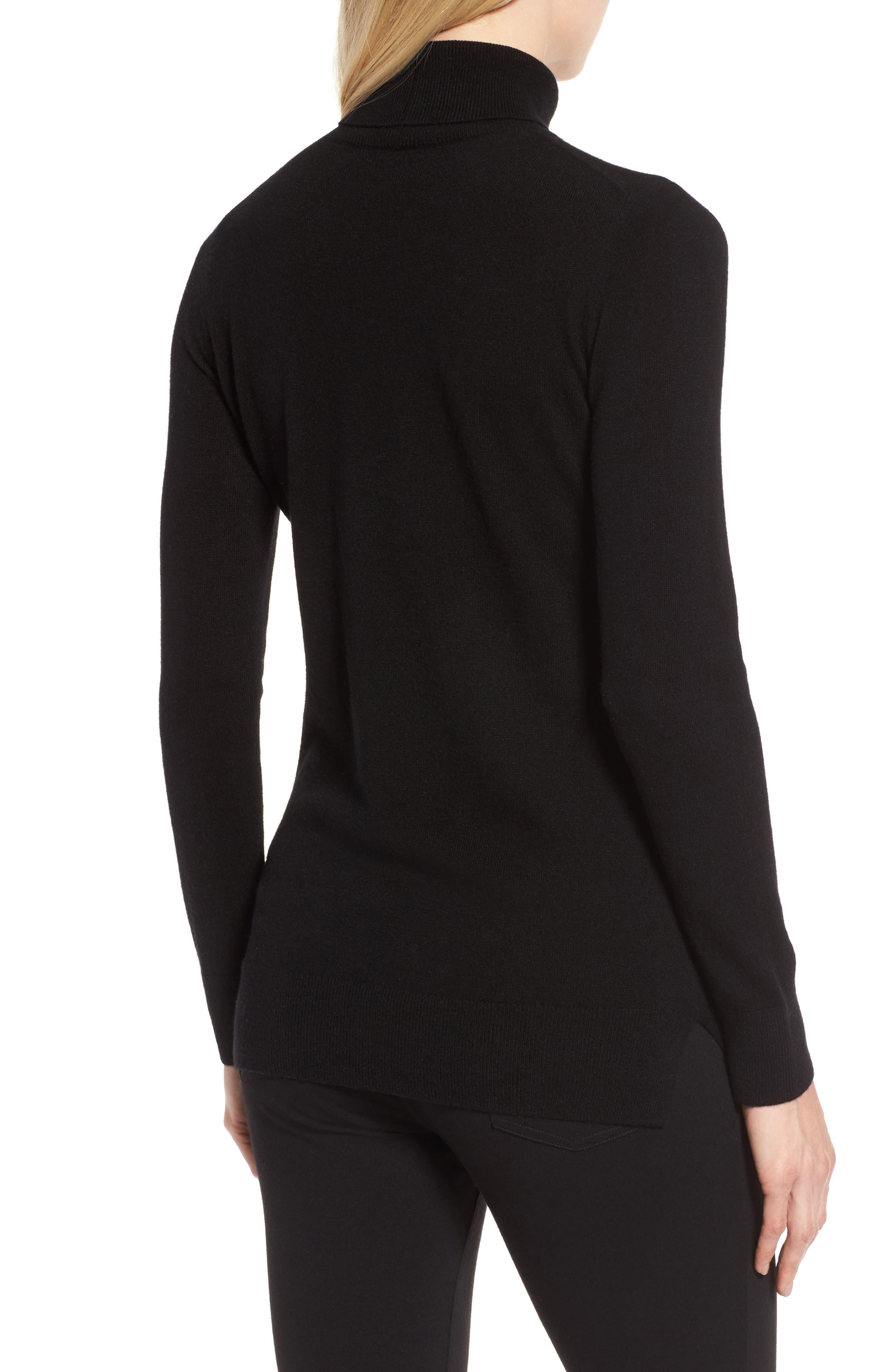Turtleneck Cashmere Sweater,                             Alternate thumbnail 2, color,                             BLACK