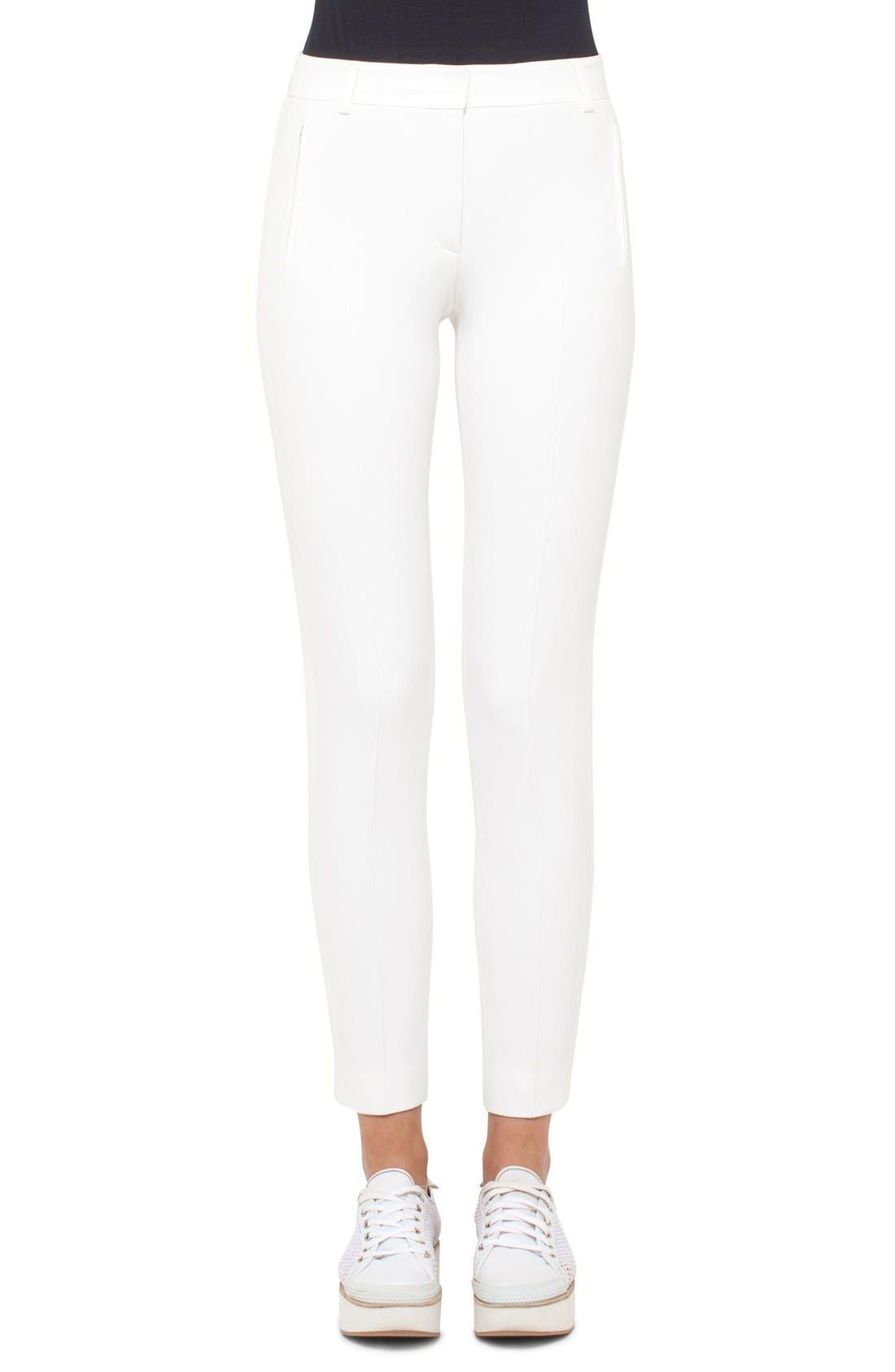 Crepe Slim Pants,                         Main,                         color, CREAM