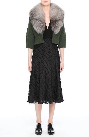 Merino Wool & Cashmere Knit Bolero with Removable Genuine Fox Fur Collar, video thumbnail
