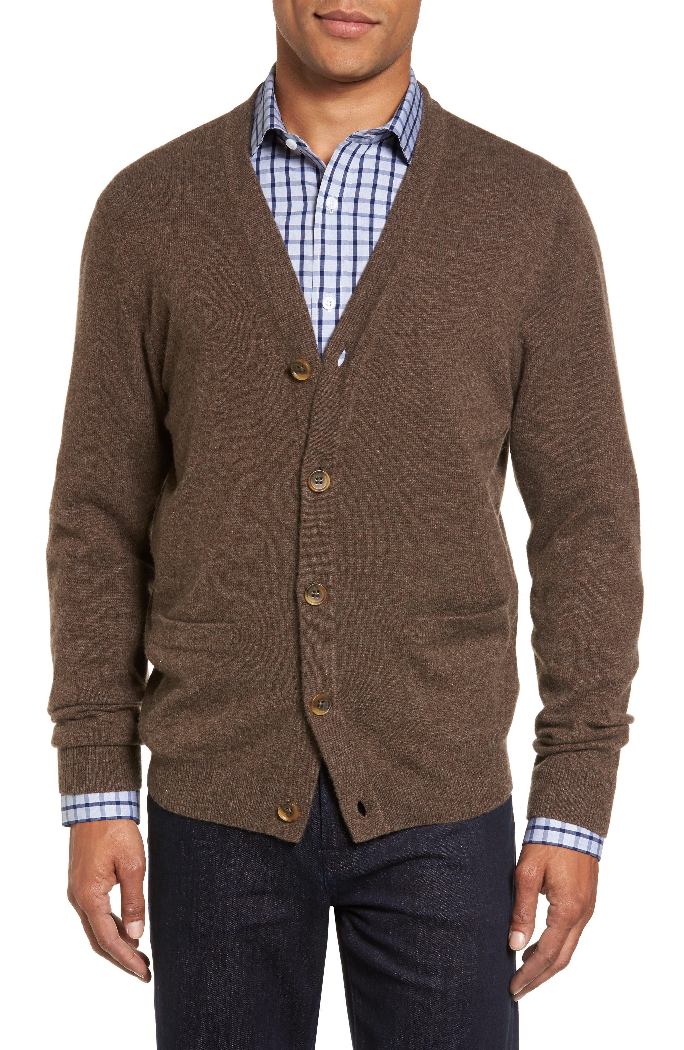 Nordstrom Shop Cashmere Button Front Cardigan, Brown