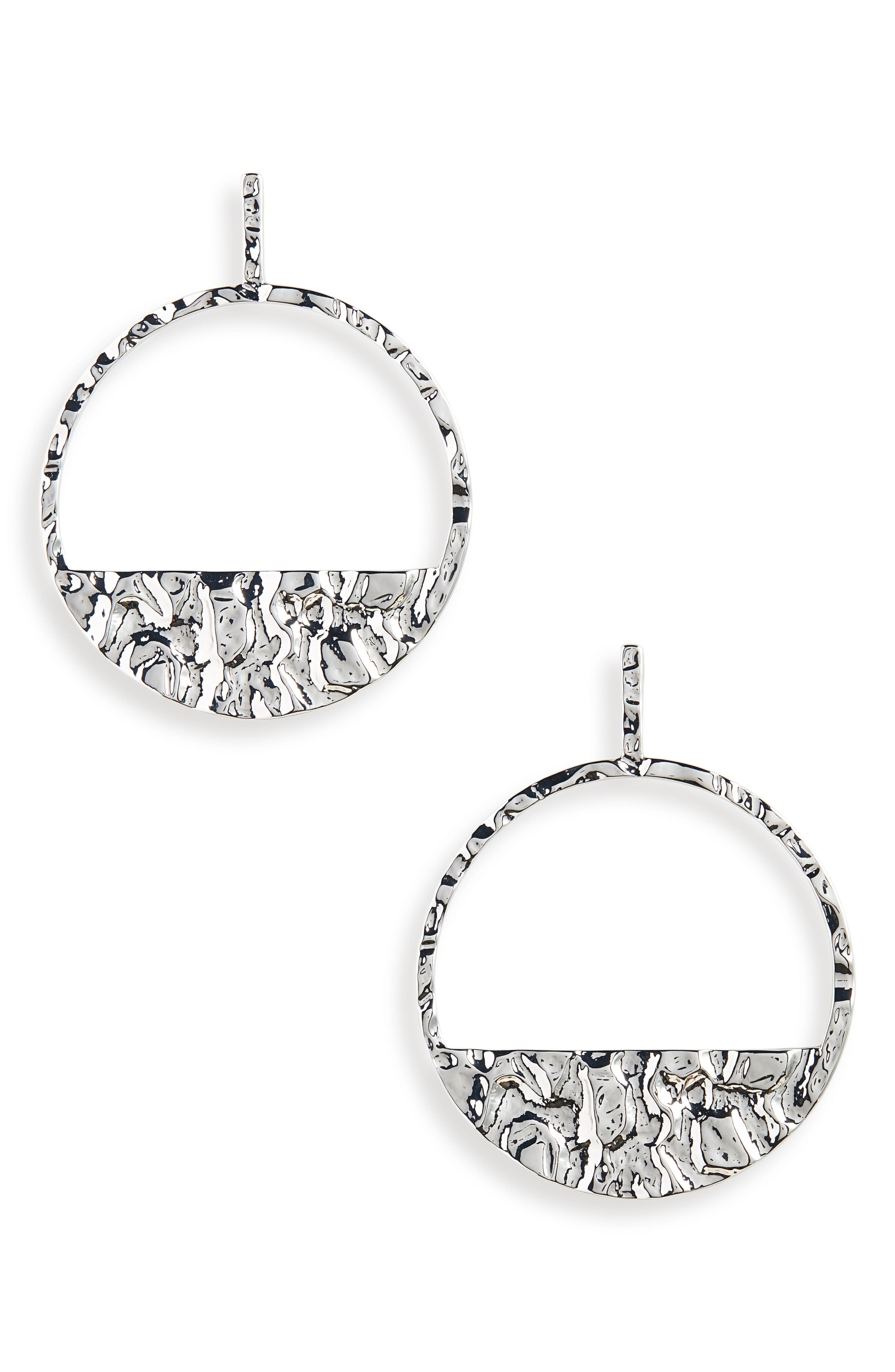 Molten Statement Hoop Earrings,                             Main thumbnail 1, color,                             SILVER