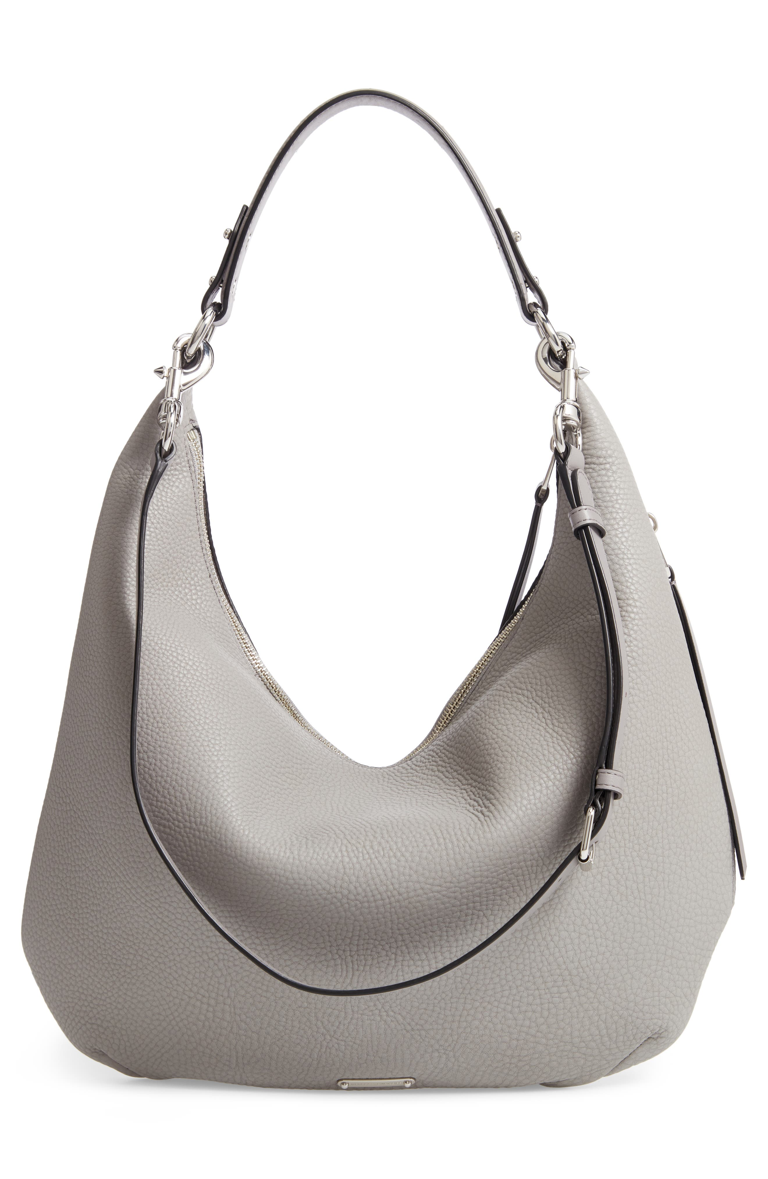 Michelle Leather Hobo,                             Alternate thumbnail 4, color,                             GREY