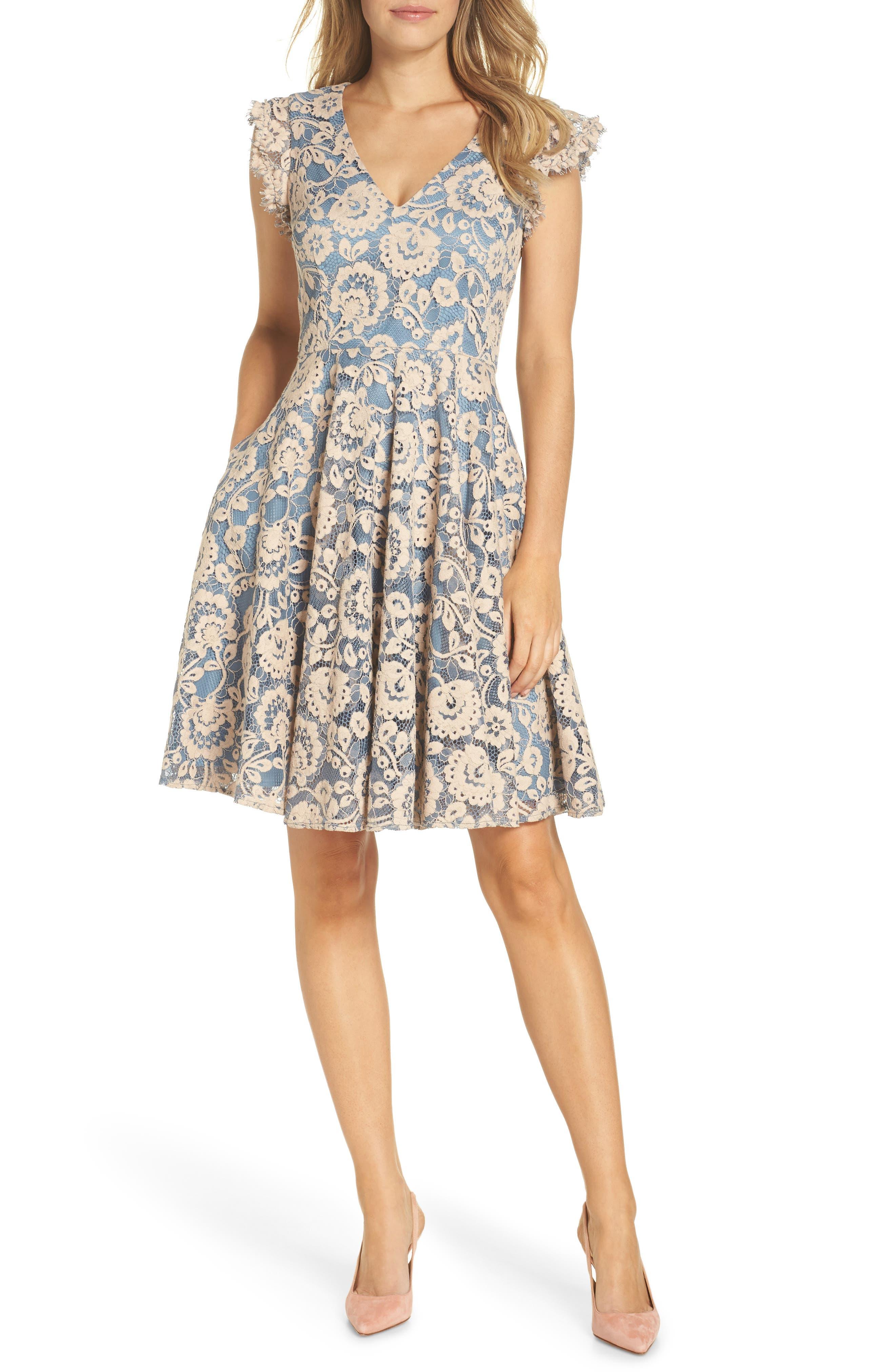 Eliza J Lace Fit & Flare Dress, Beige