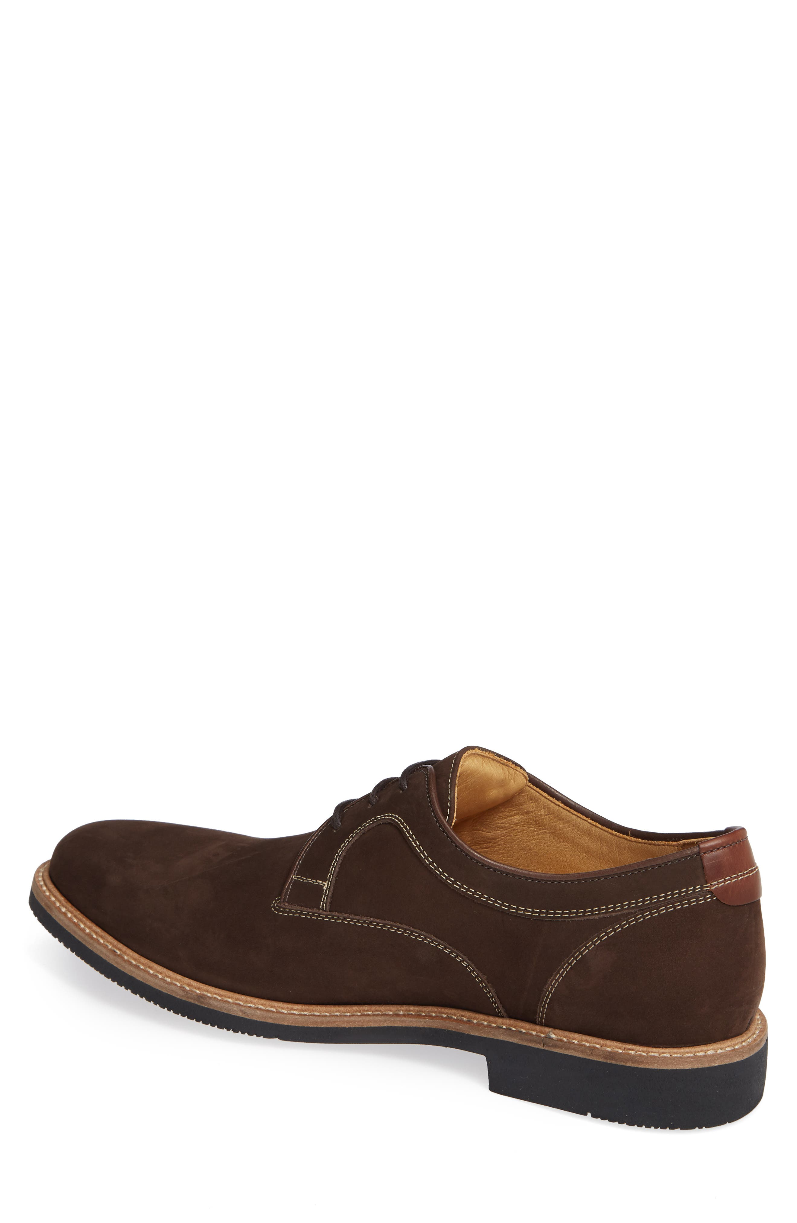 JOHNSTON & MURPHY,                             Barlow Plain Toe Derby,                             Alternate thumbnail 2, color,                             CHOCOLATE NUBUCK
