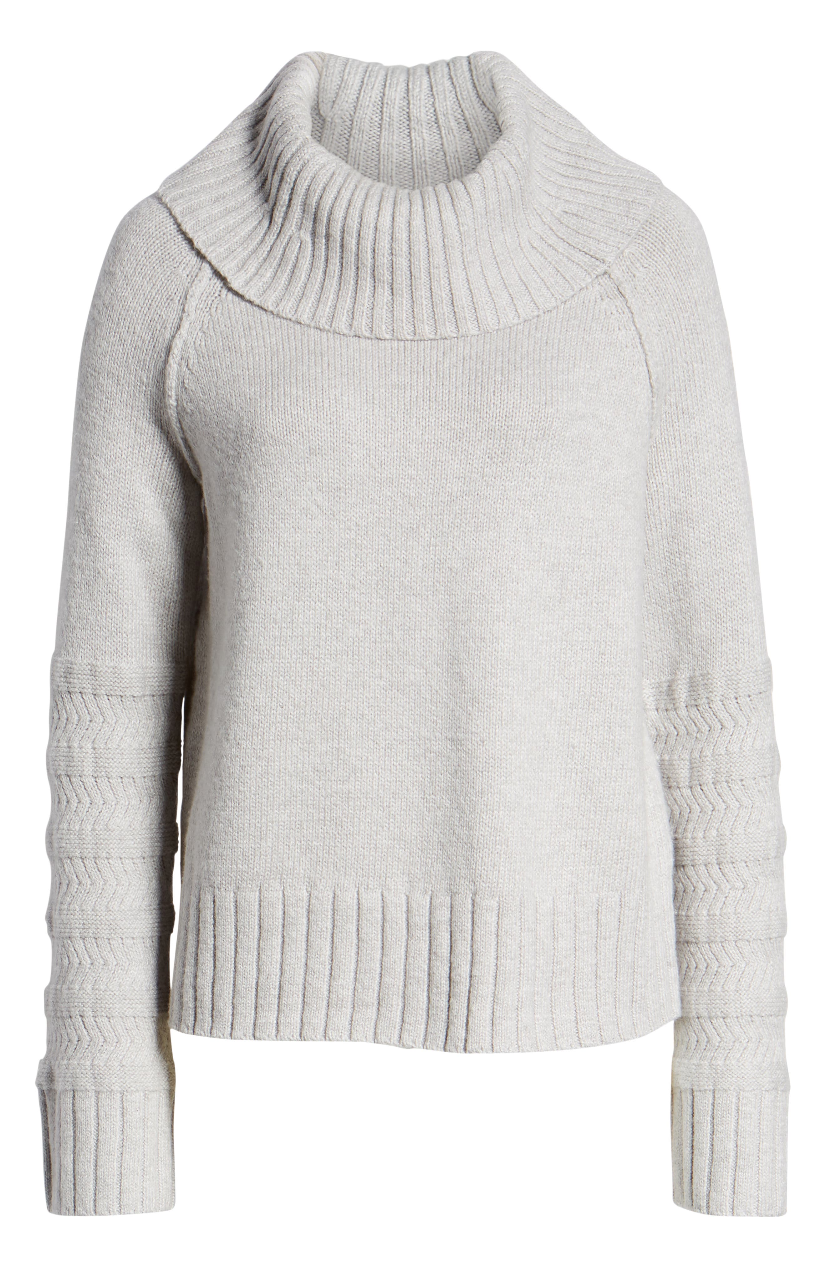 Turtleneck Sweater,                             Alternate thumbnail 6, color,                             GREY LIGHT HEATHER