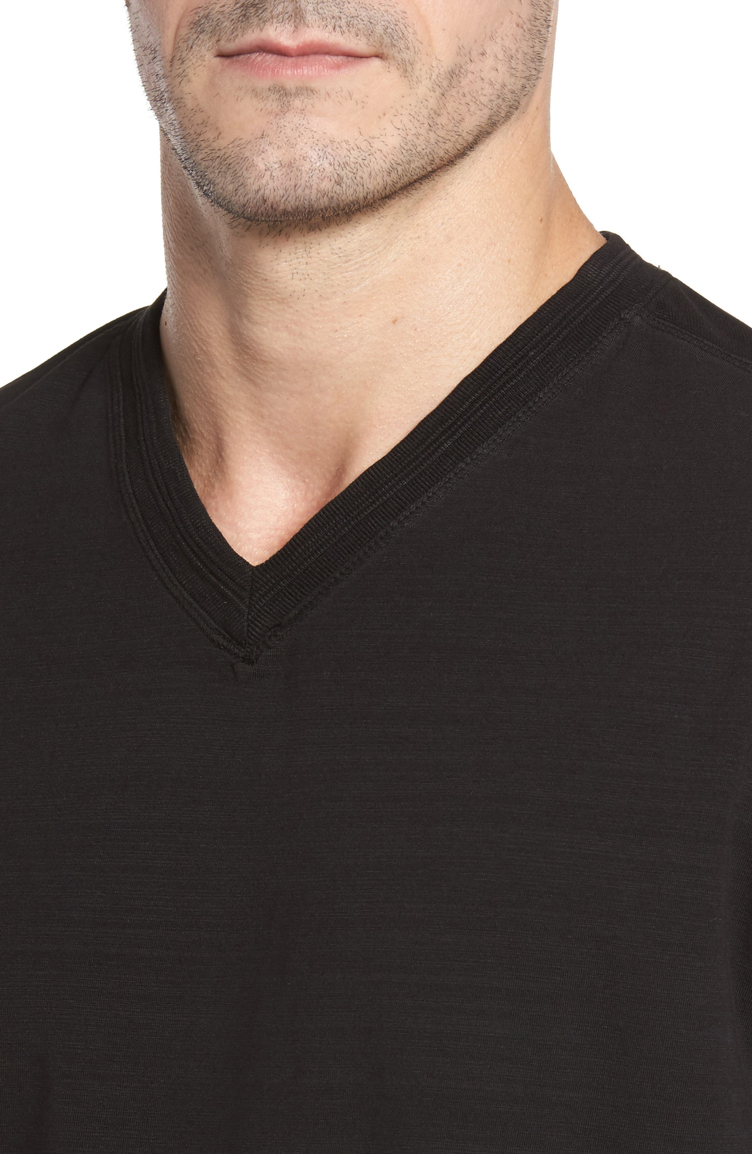 Vinn Slubbed Long Sleeve V-Neck T-Shirt,                             Alternate thumbnail 4, color,                             001