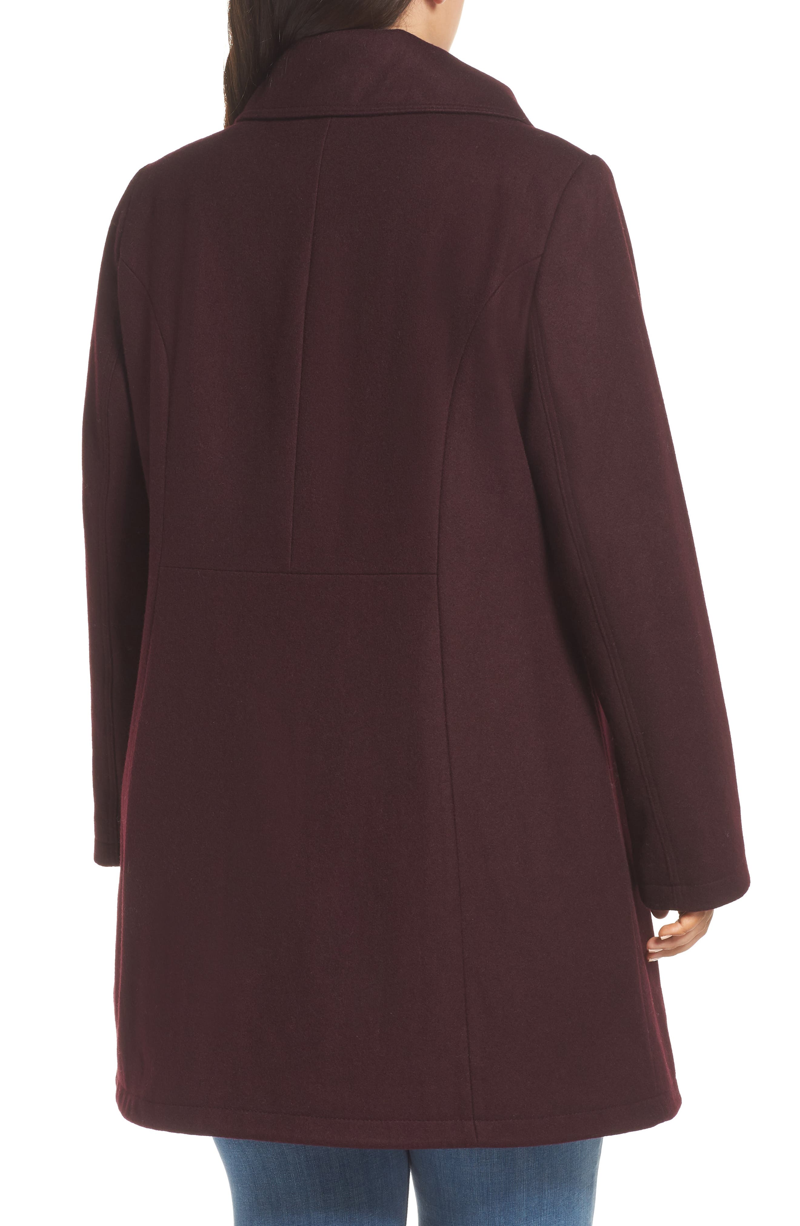 Asymmetrical Zip Wool Blend Coat,                             Alternate thumbnail 2, color,                             WINE