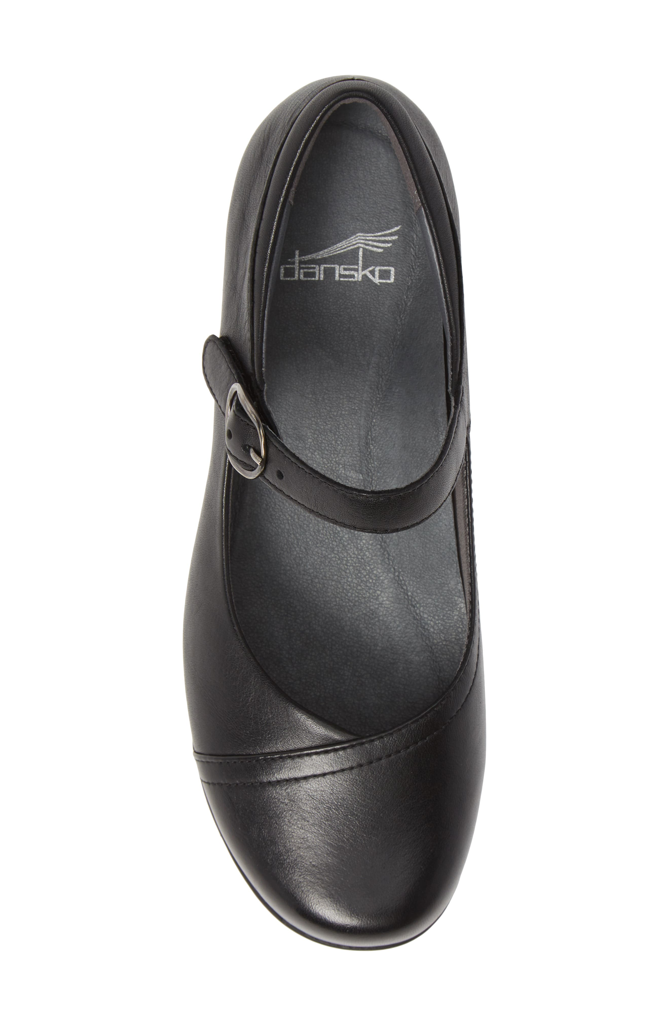 Fawna Mary Jane Flat,                             Alternate thumbnail 5, color,                             BLACK MILLED LEATHER