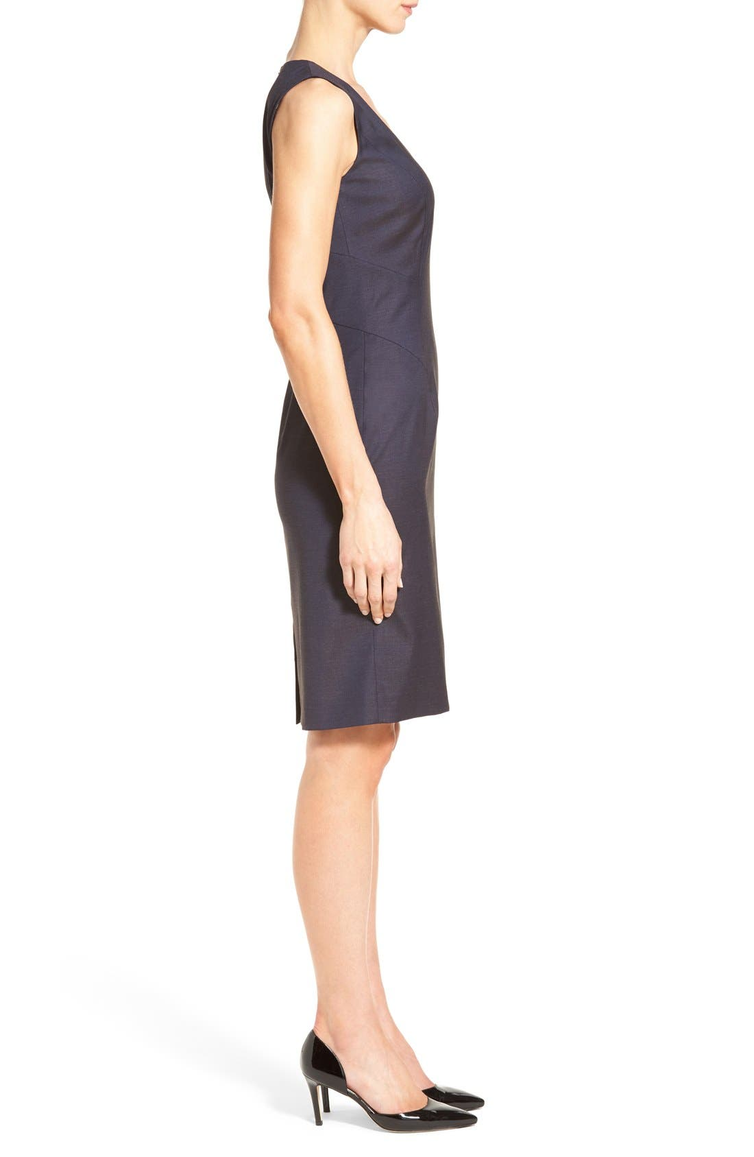 BOSS,                             'Dictana' V-Neck Stretch Wool Blend Sheath Dress,                             Alternate thumbnail 6, color,                             474
