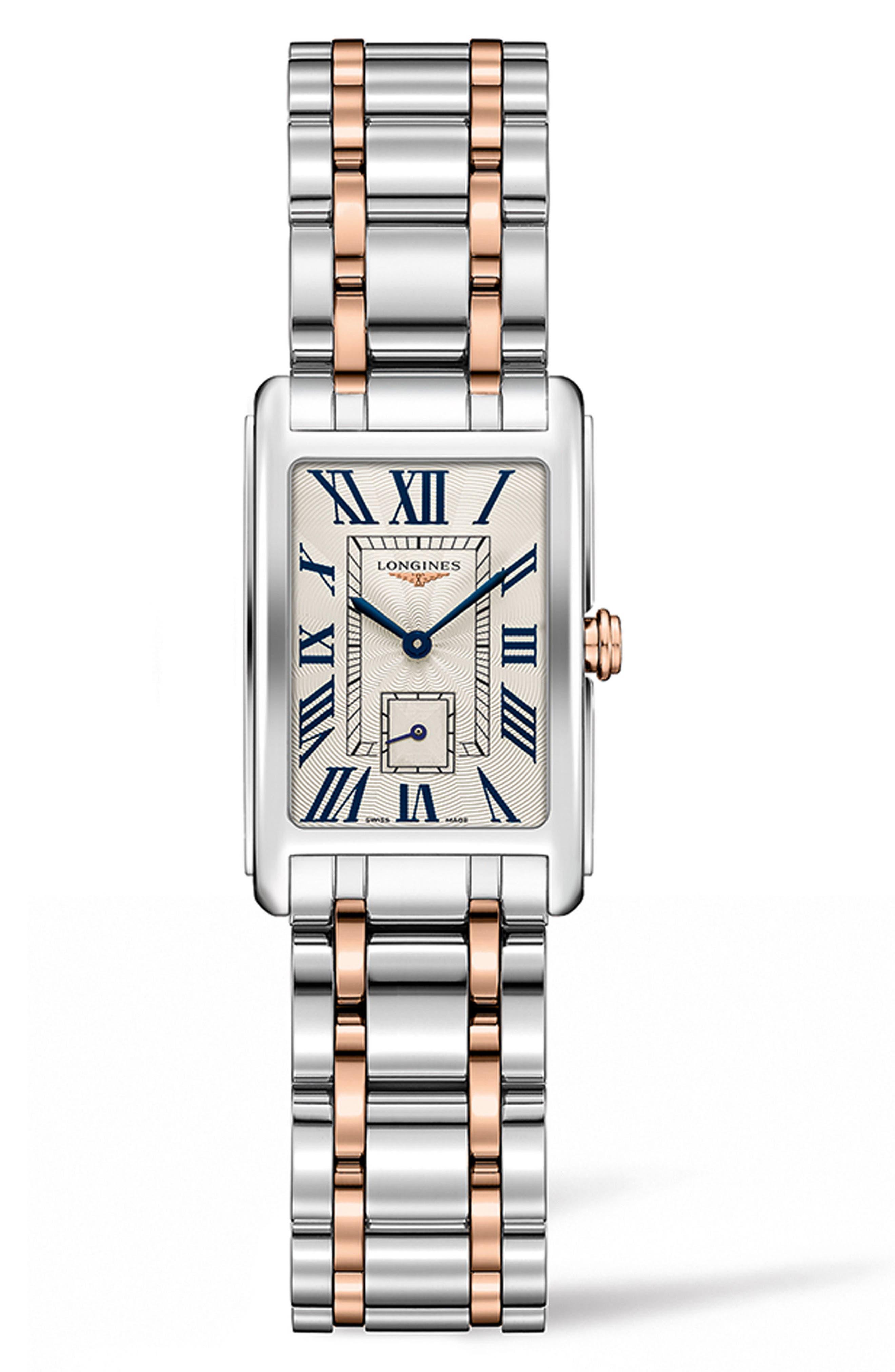 DolceVita Bracelet Watch, 20.5mm x 32mm,                             Main thumbnail 1, color,                             ROSE GOLD/ SILVER