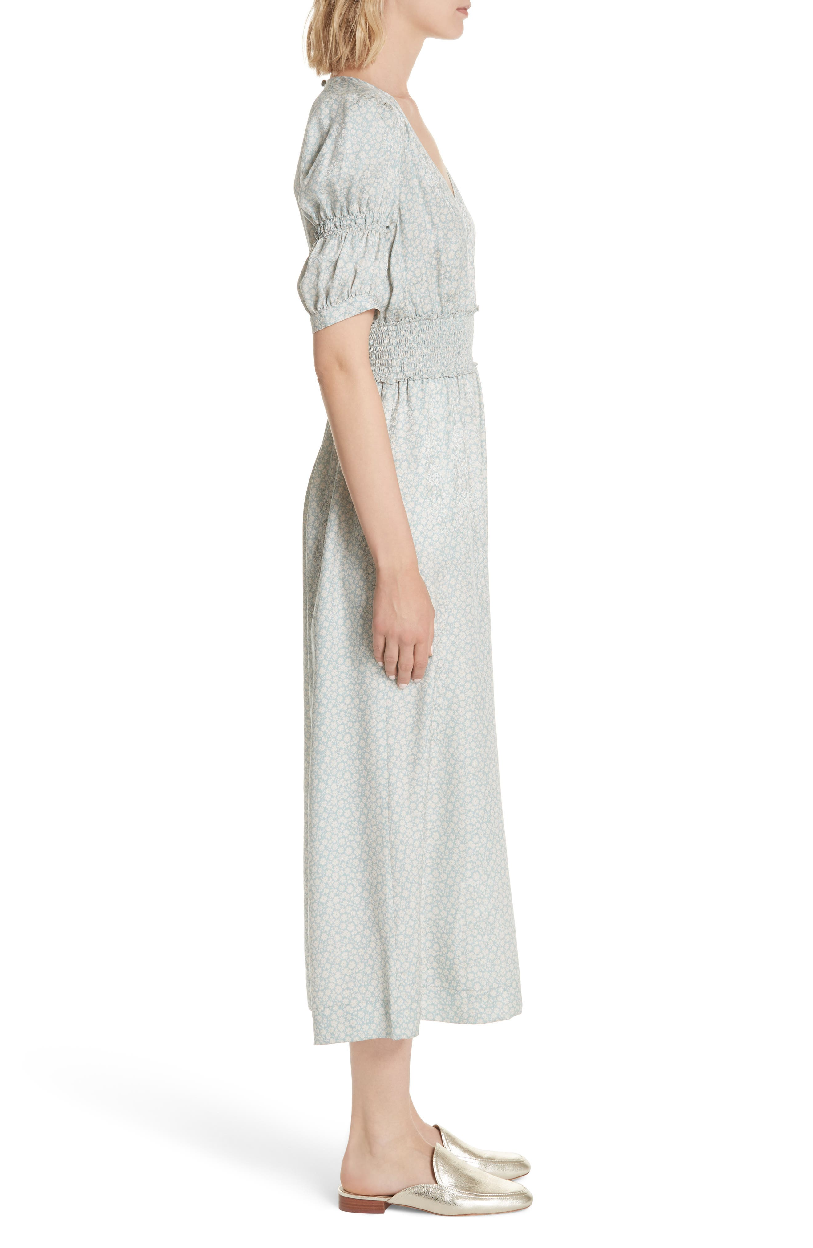Lauren Puff Sleeve Floral Silk Jumpsuit,                             Alternate thumbnail 3, color,                             SAGE COMBO