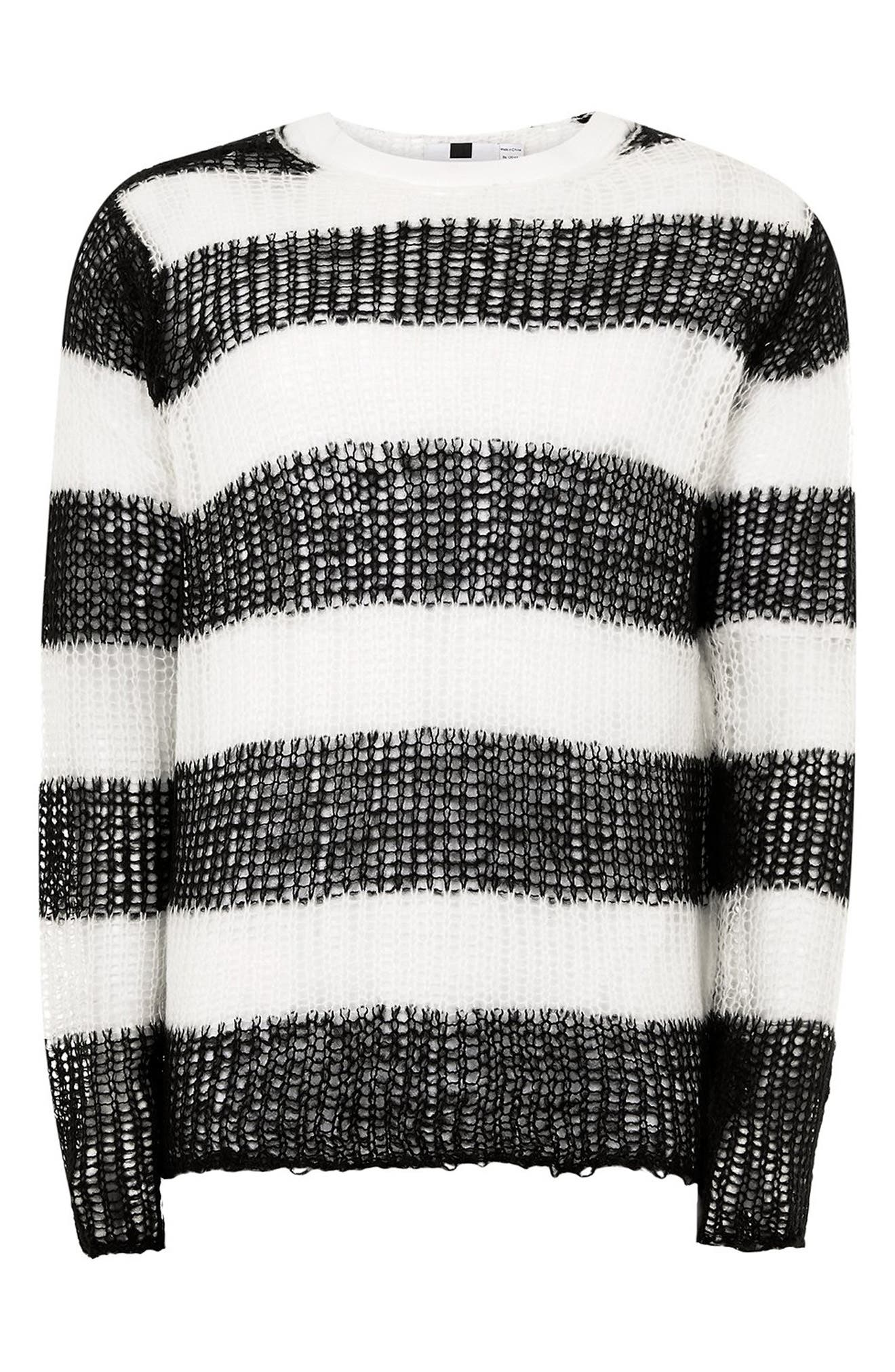 Stripe Classic Fit Sweater,                             Alternate thumbnail 4, color,                             001