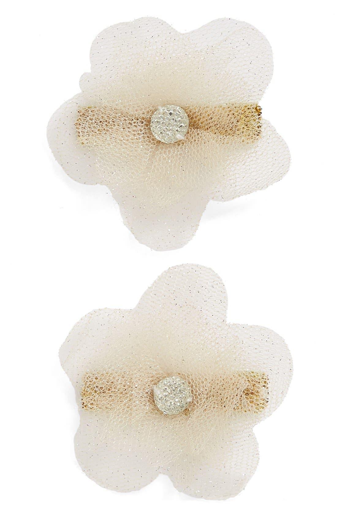 Set of 2 Glitter Flower Hair Clips,                             Main thumbnail 3, color,