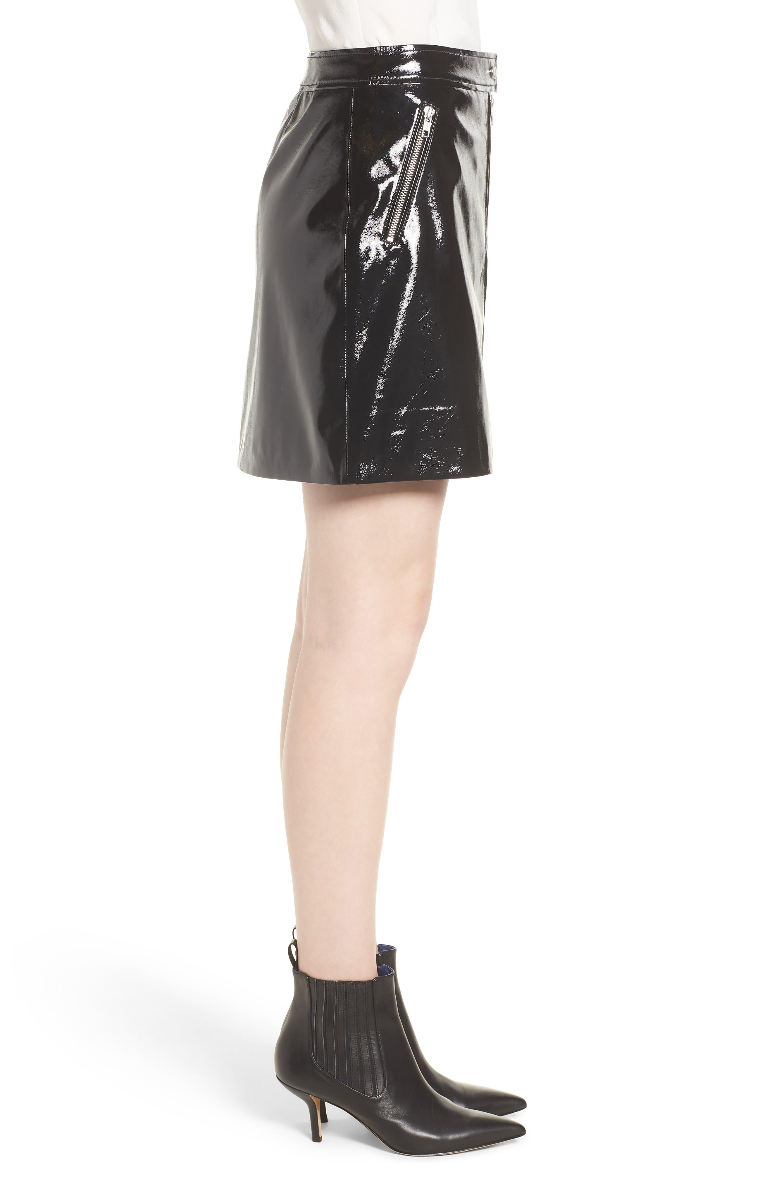 Patent Miniskirt,                             Alternate thumbnail 3, color,                             001