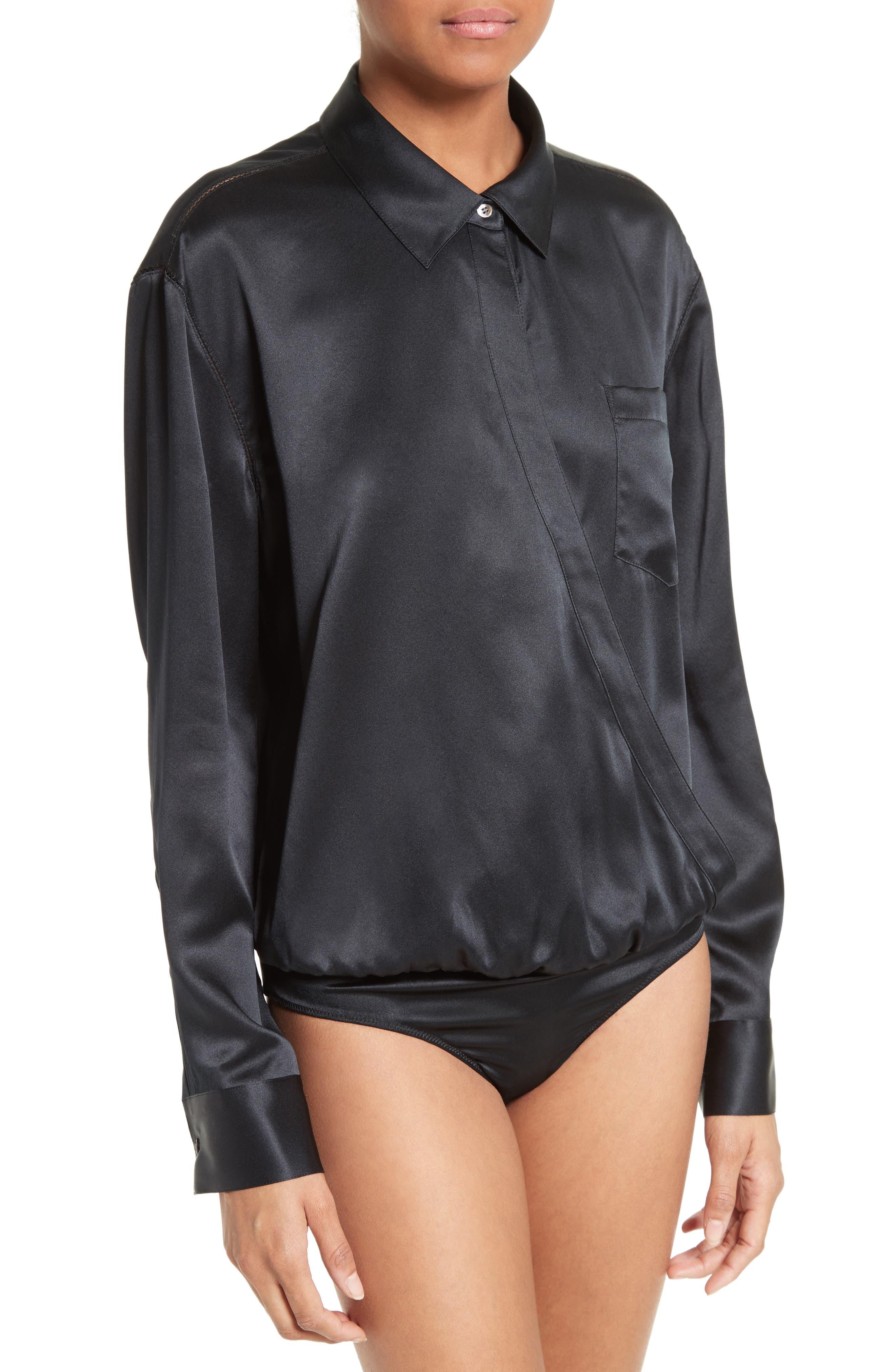 Silk Wrap Shirt Bodysuit,                             Alternate thumbnail 2, color,                             001