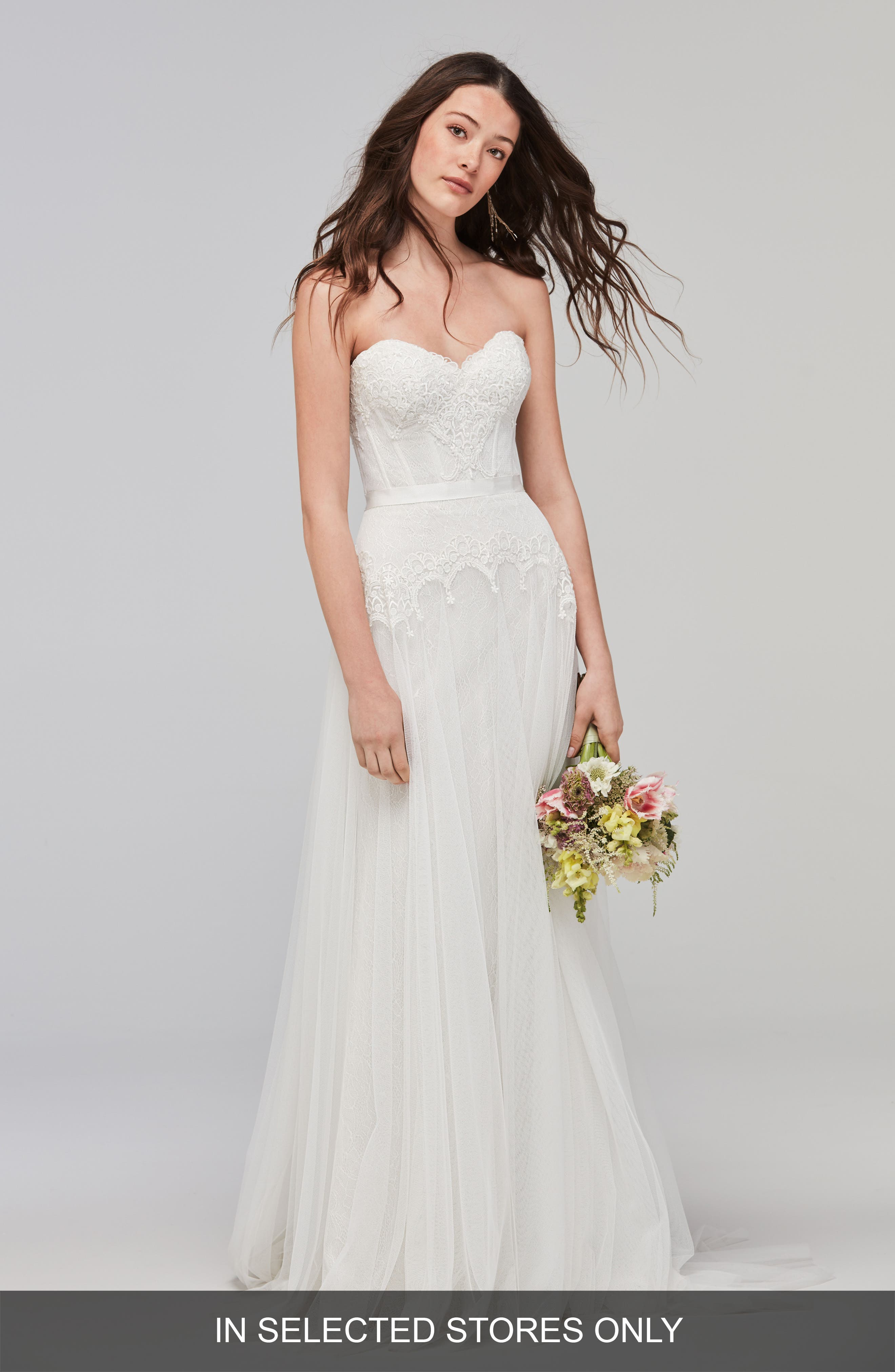 Lupine Strapless Chantilly Lace & Net Gown,                             Main thumbnail 1, color,                             IVORY/OYSTER