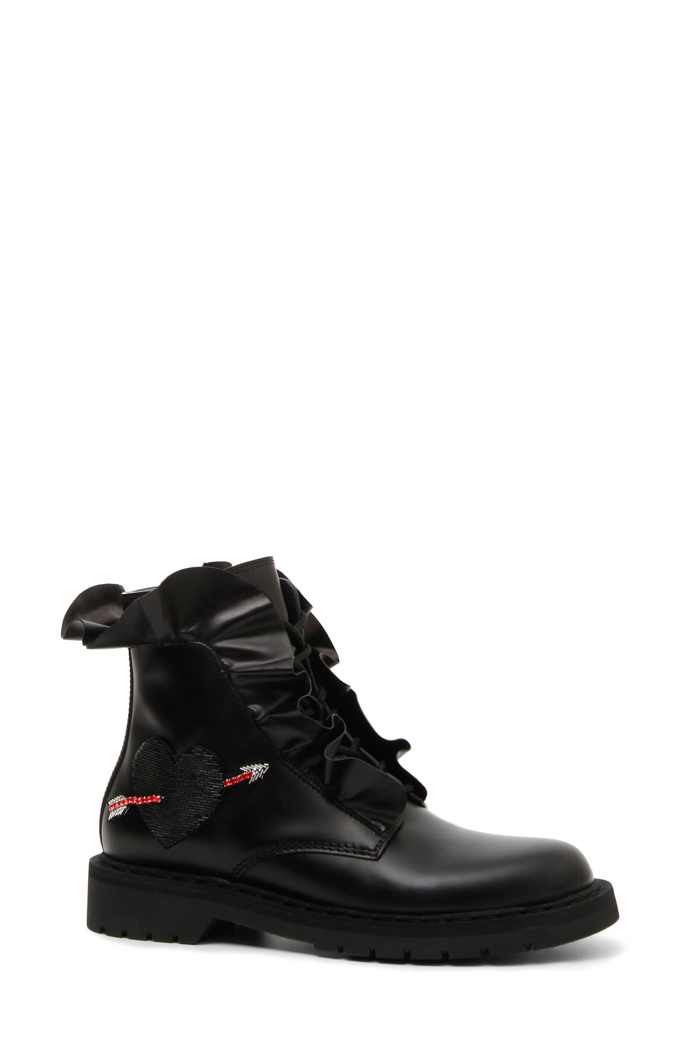 Heart Ruffle Combat Boot,                             Main thumbnail 1, color,                             BLACK