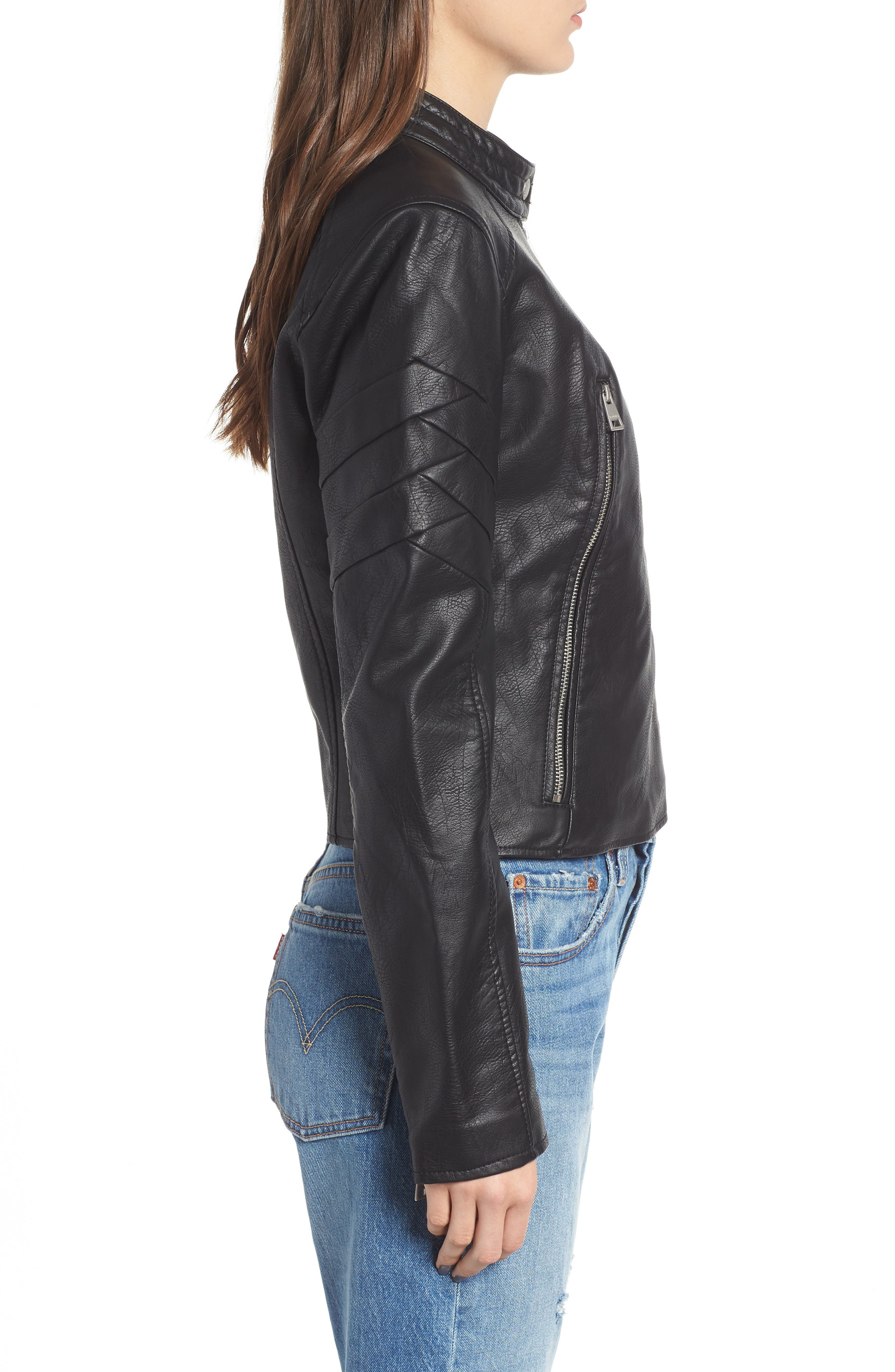 Faux Leather Moto Jacket,                             Alternate thumbnail 3, color,                             BLACK
