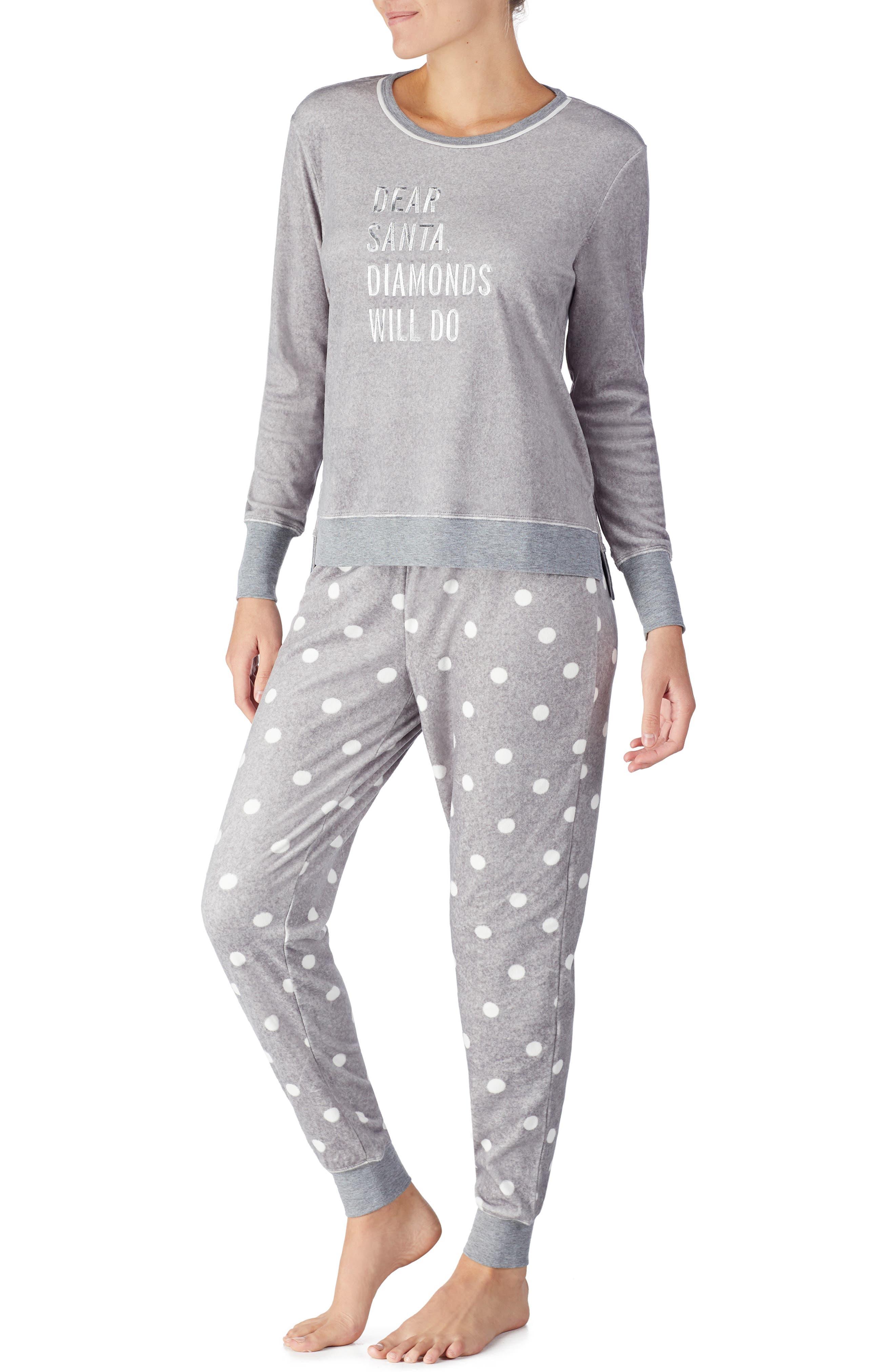jogger long pajamas,                             Main thumbnail 1, color,                             GREY DOT